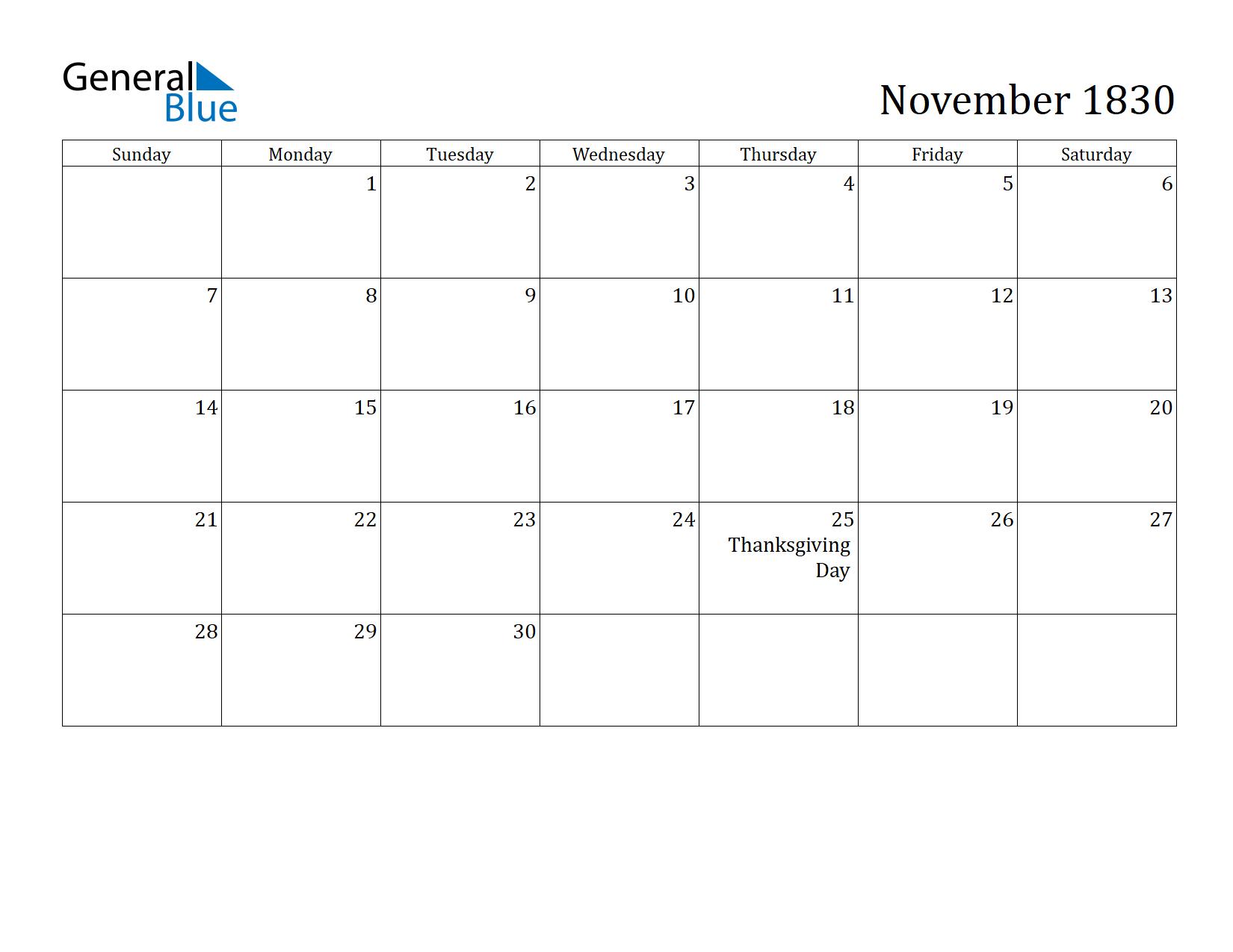 Image of November 1830 Calendar