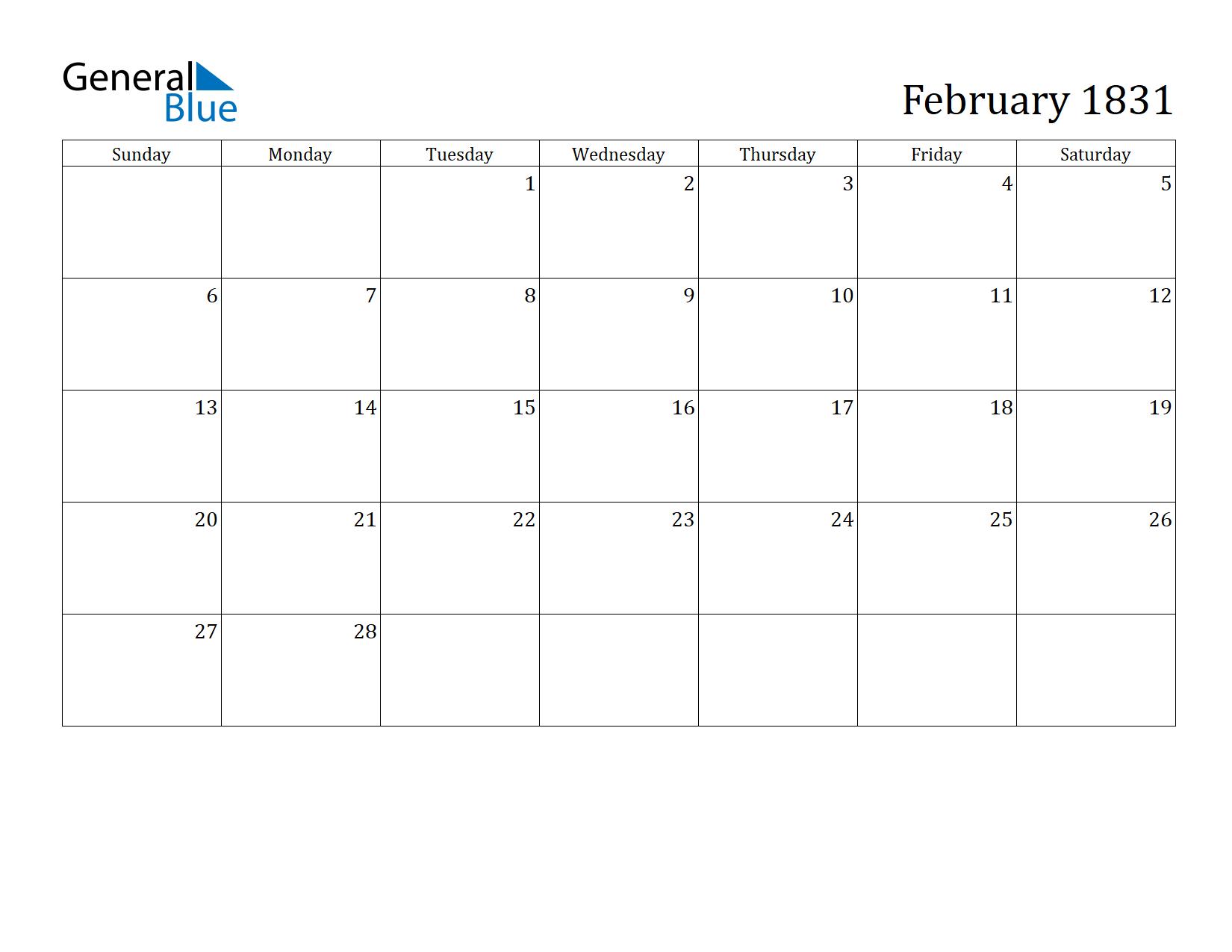 Image of February 1831 Calendar