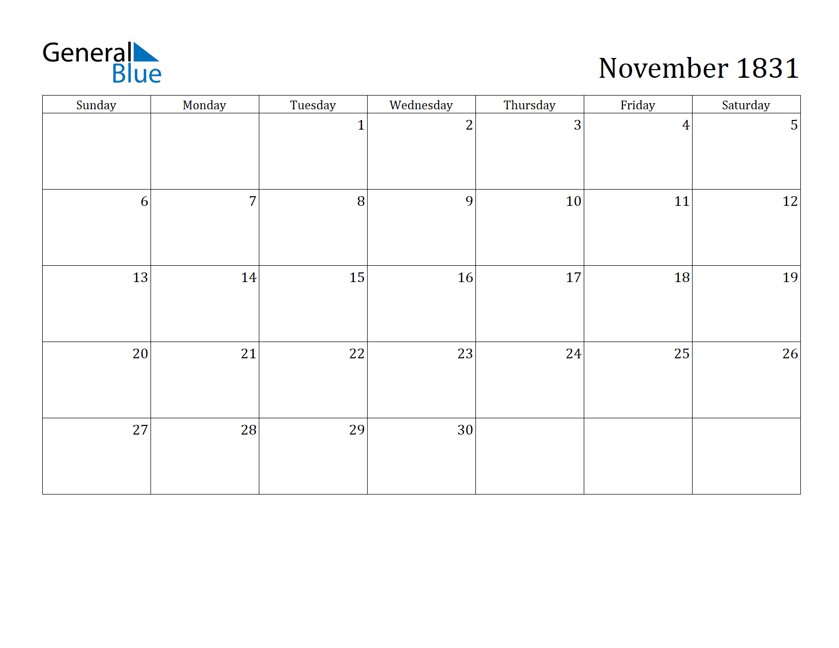 Image of November 1831 Calendar