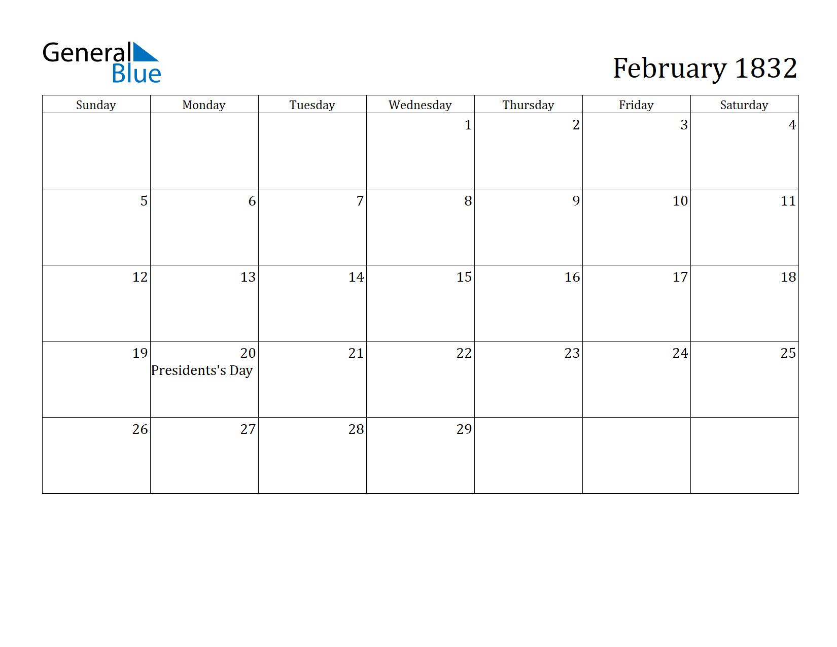 Image of February 1832 Calendar