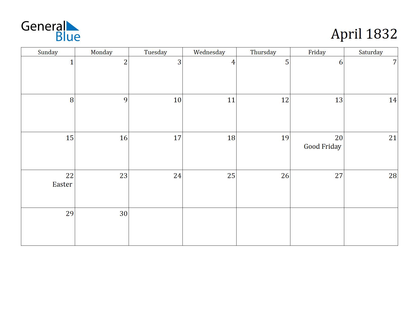 Image of April 1832 Calendar