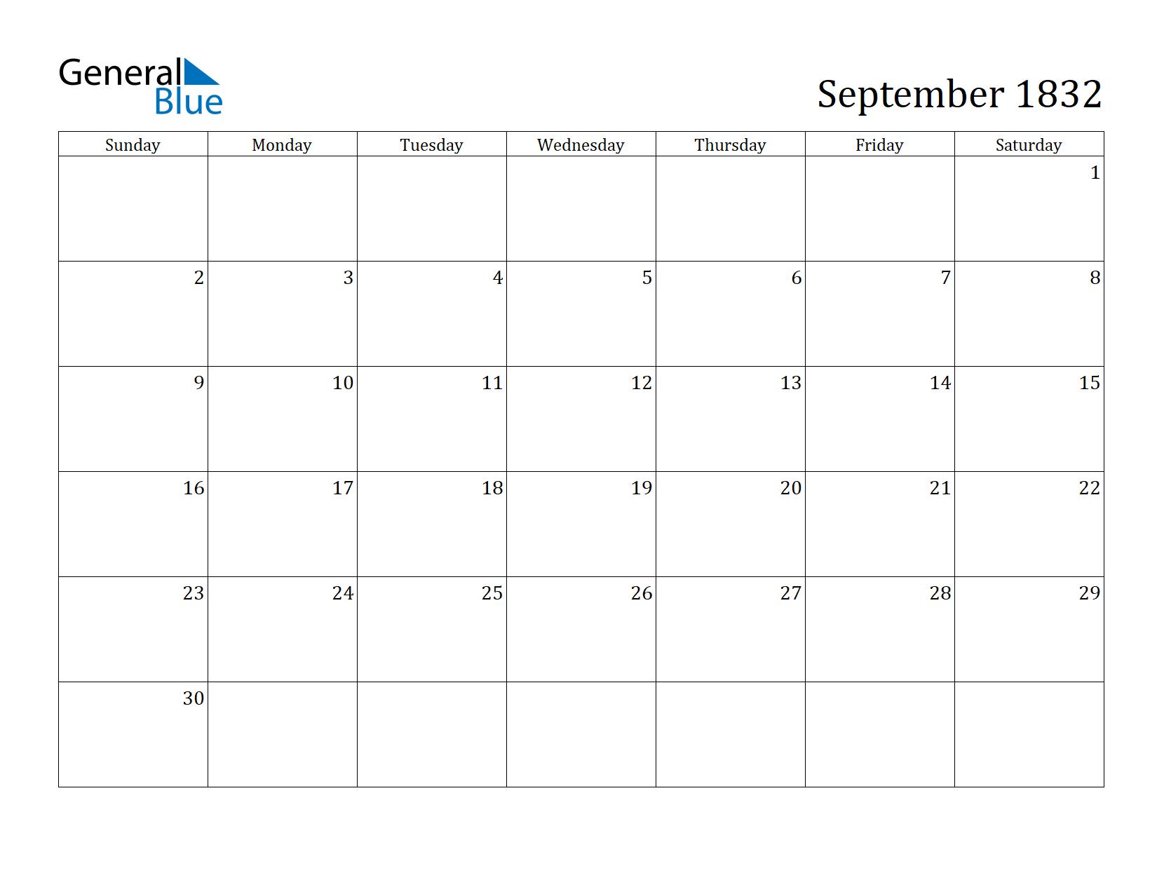 Image of September 1832 Calendar