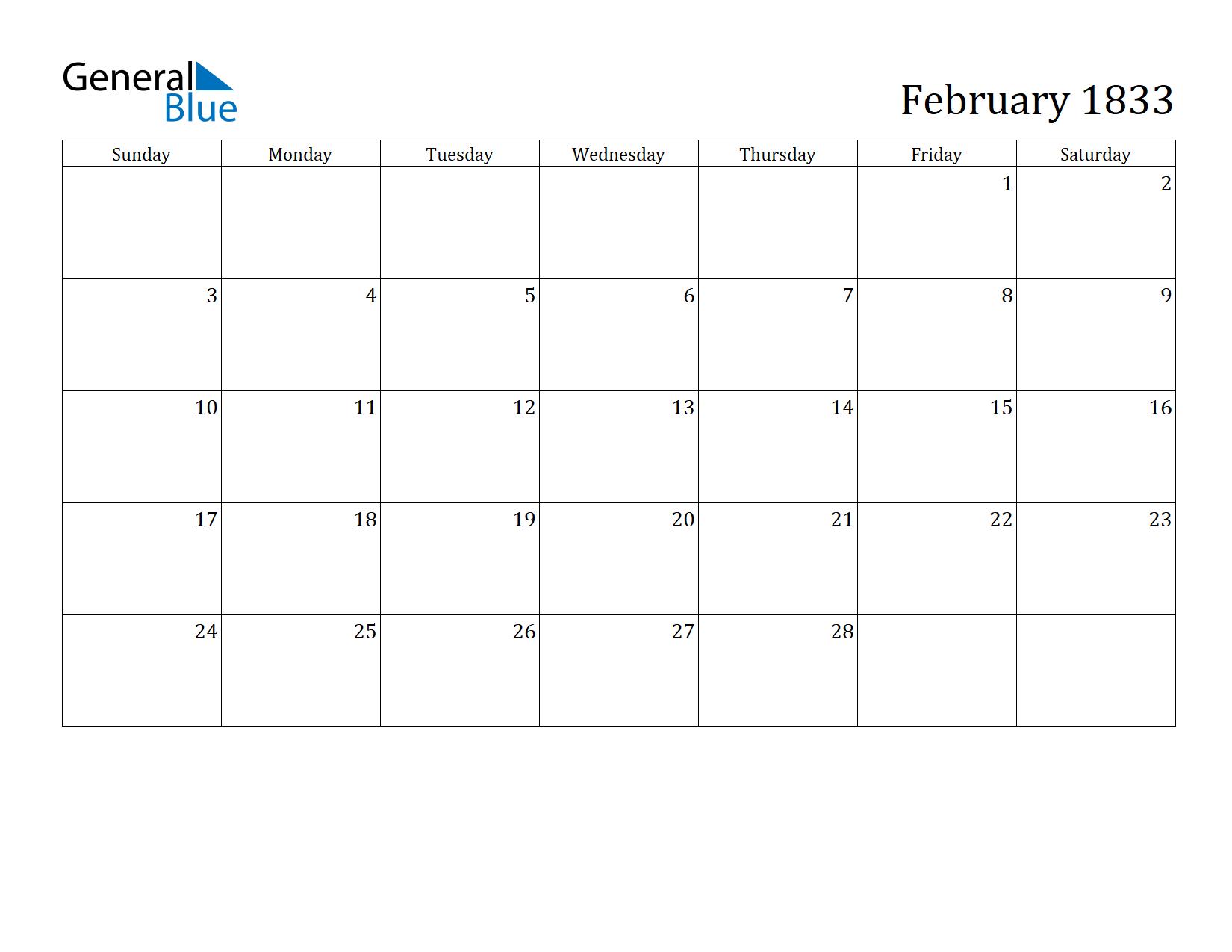 Image of February 1833 Calendar