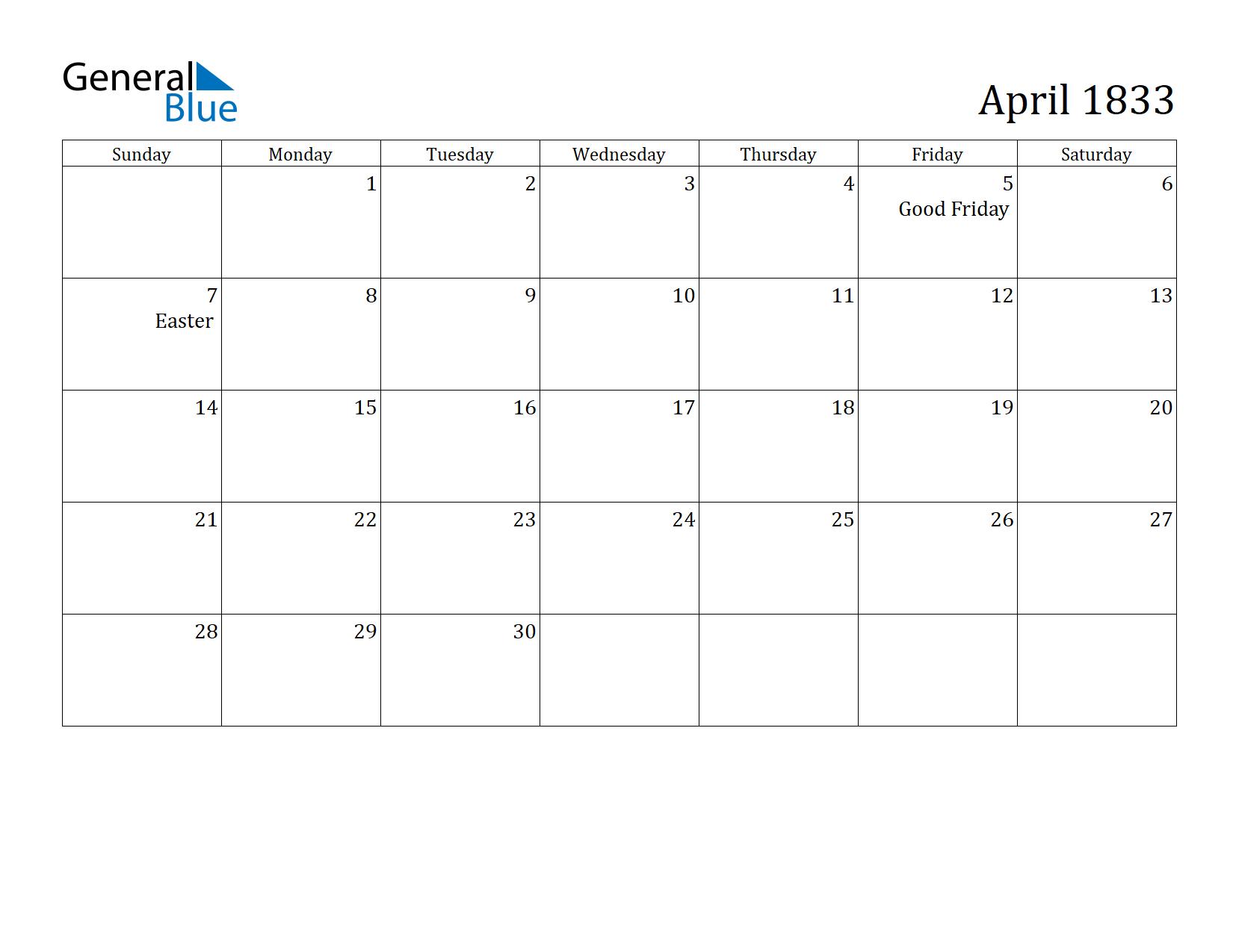 Image of April 1833 Calendar