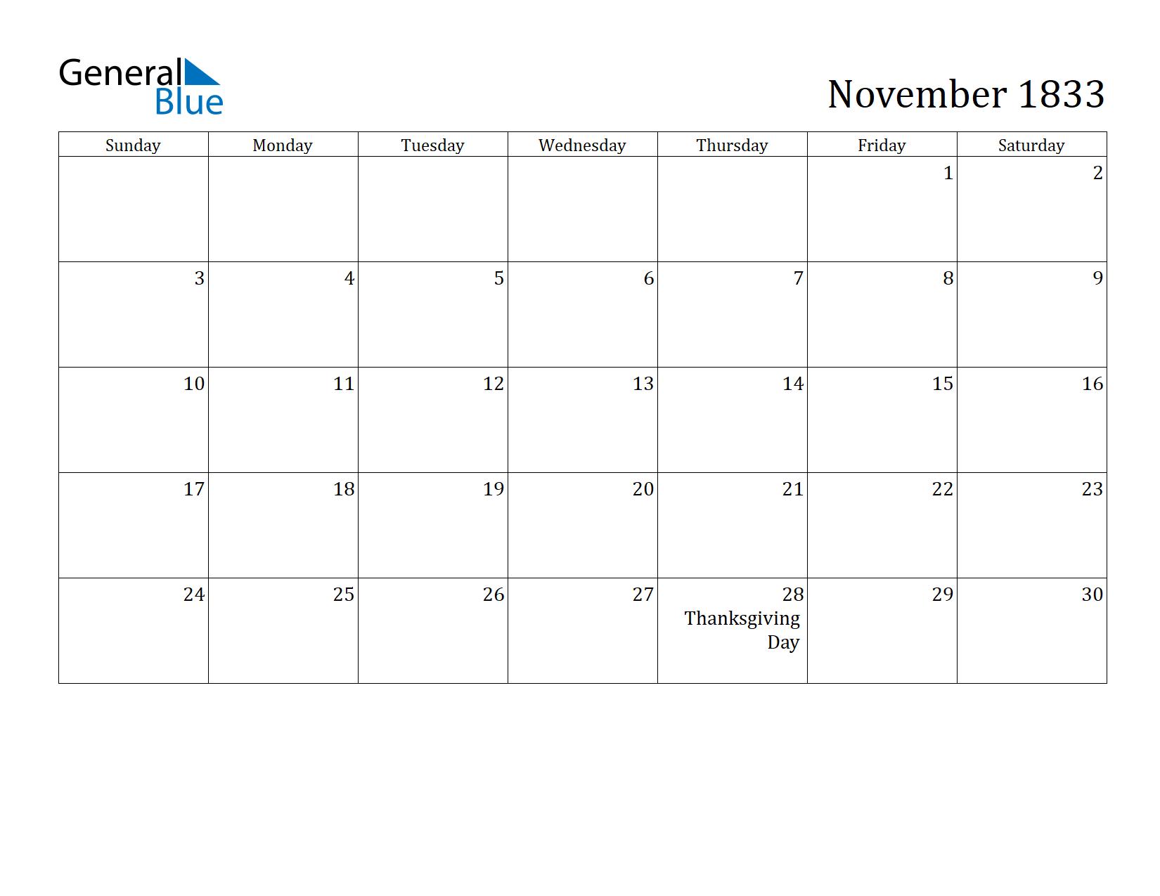 Image of November 1833 Calendar