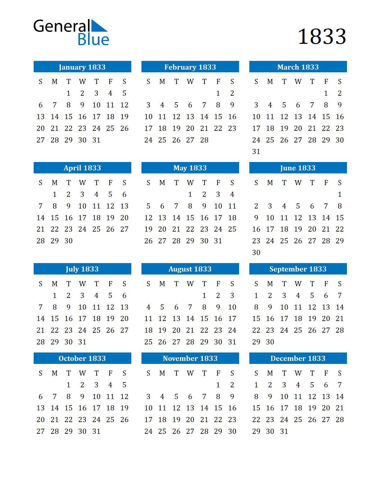 Image of 1833 Calendar