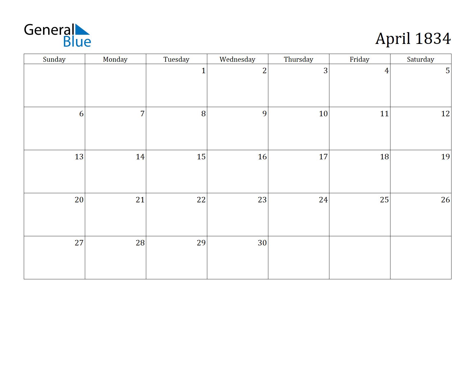 Image of April 1834 Calendar