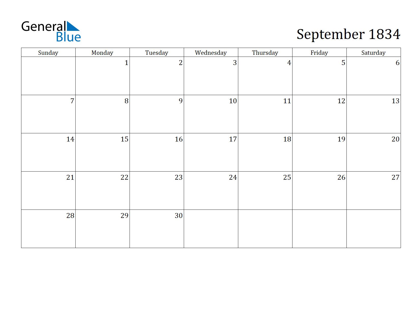 Image of September 1834 Calendar
