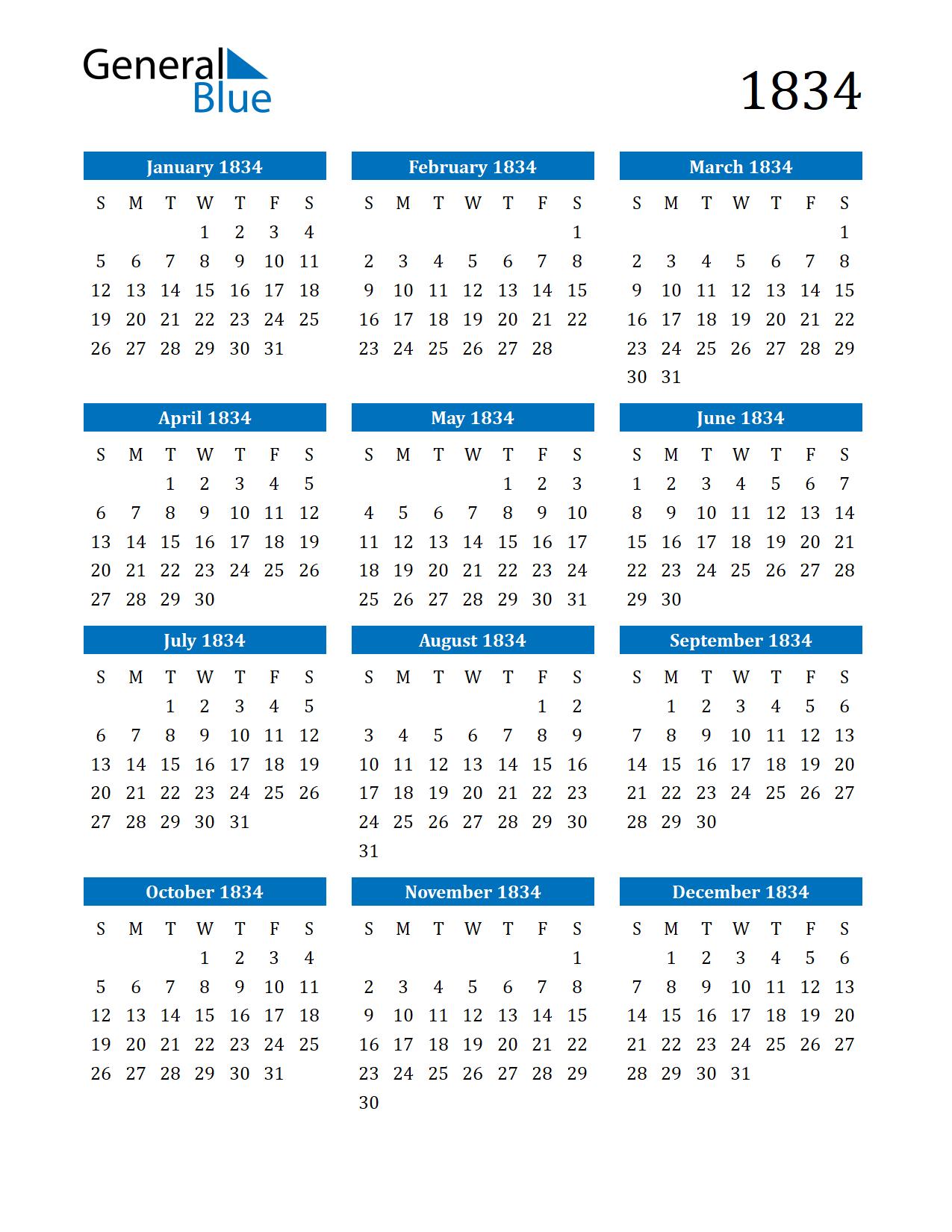 Image of 1834 Calendar