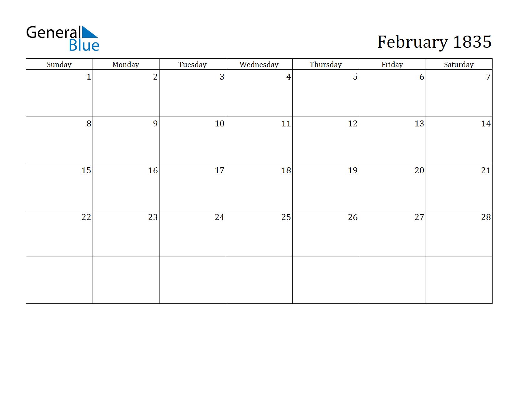 Image of February 1835 Calendar