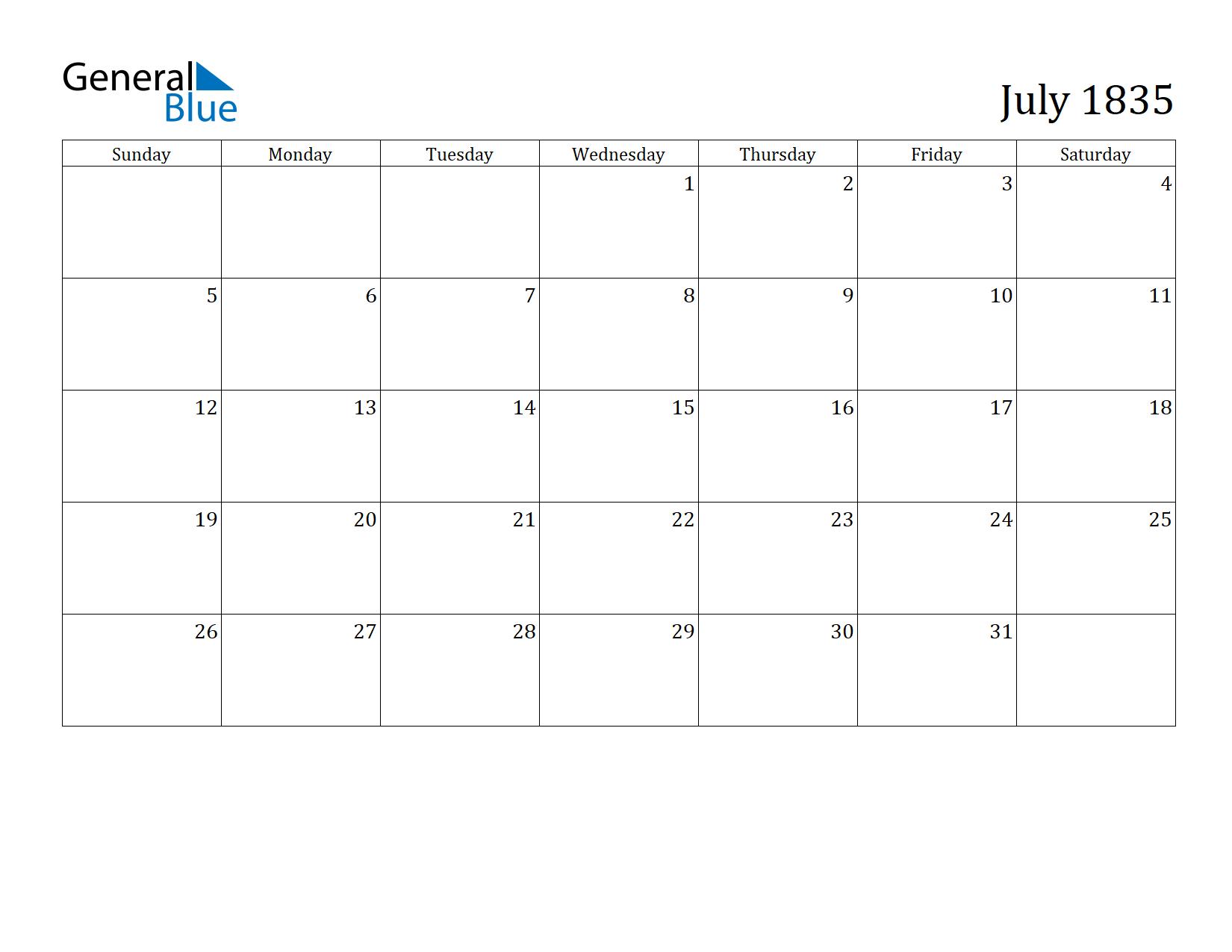 Image of July 1835 Calendar