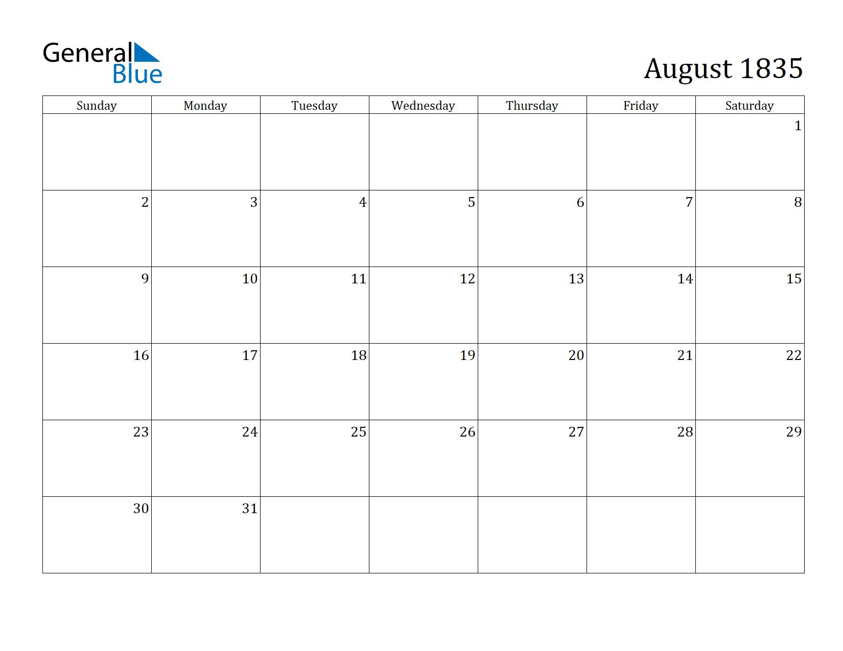 Image of August 1835 Calendar