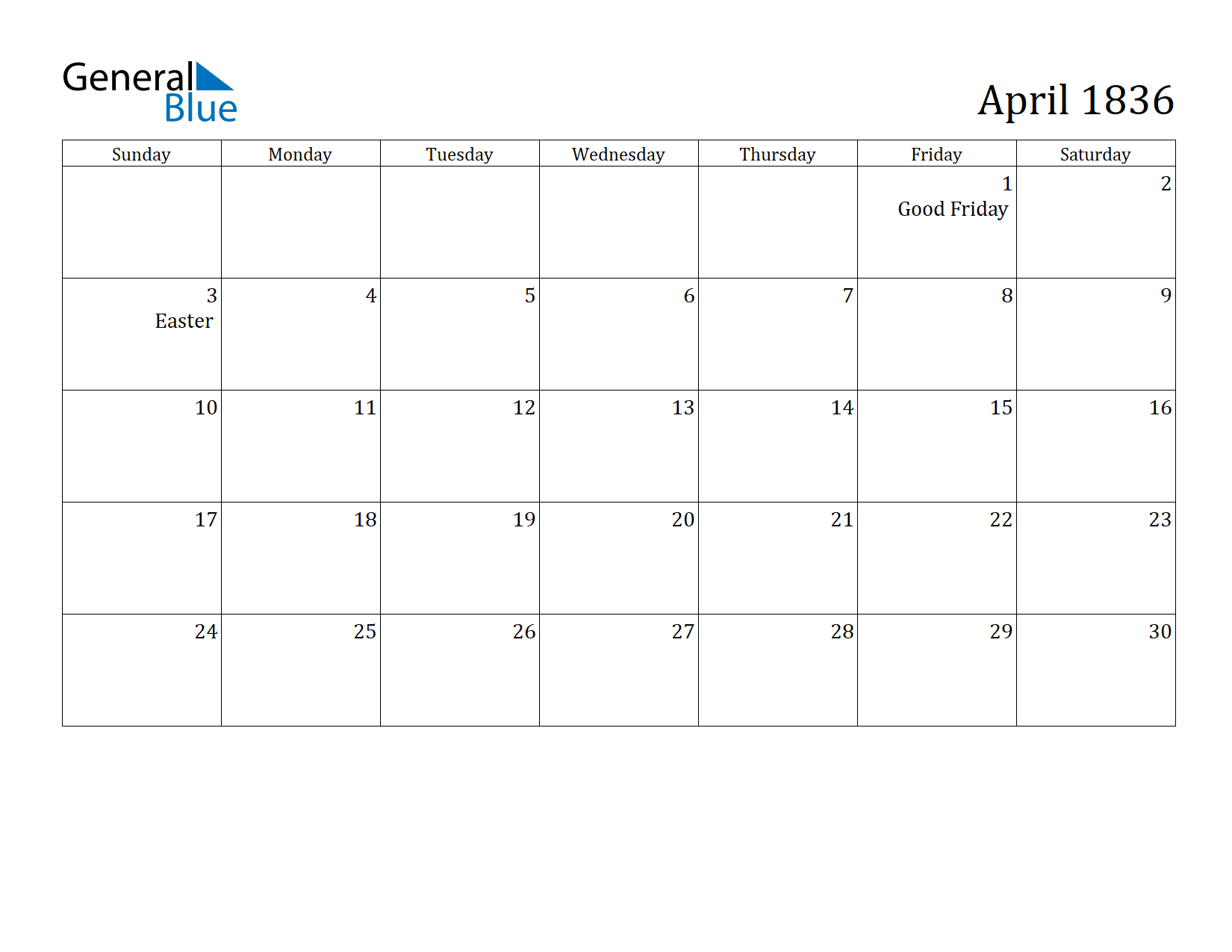 Image of April 1836 Calendar