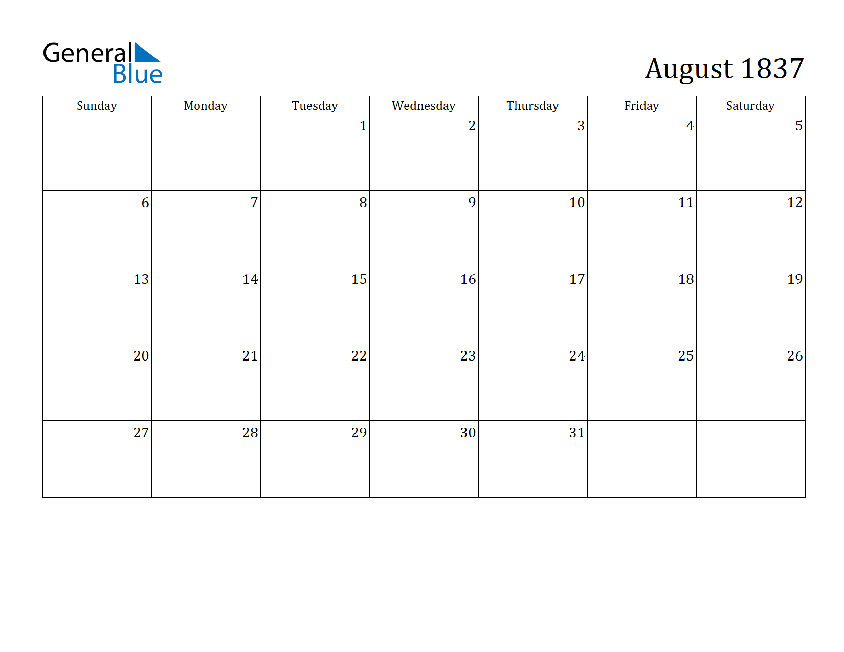 Image of August 1837 Calendar