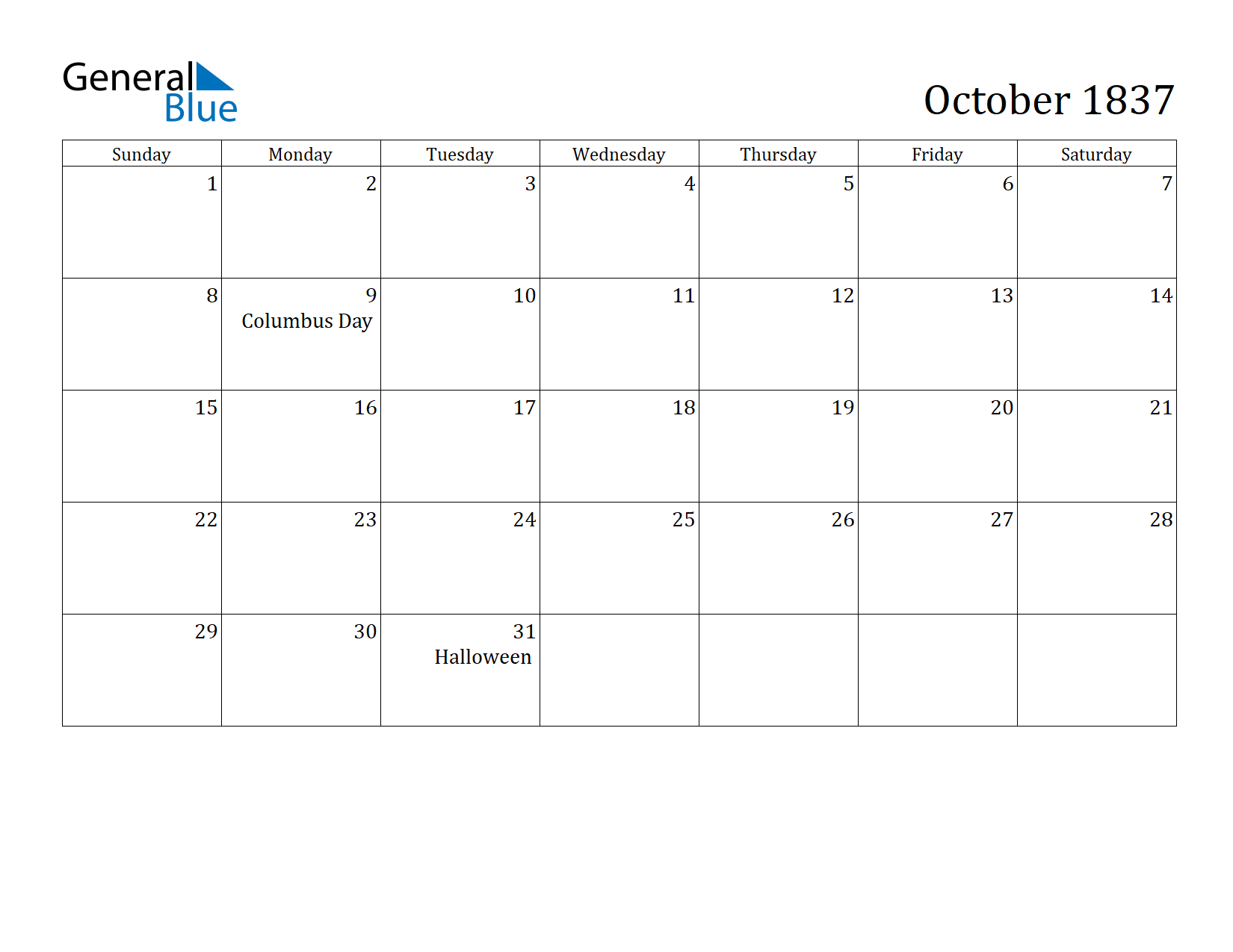 Image of October 1837 Calendar