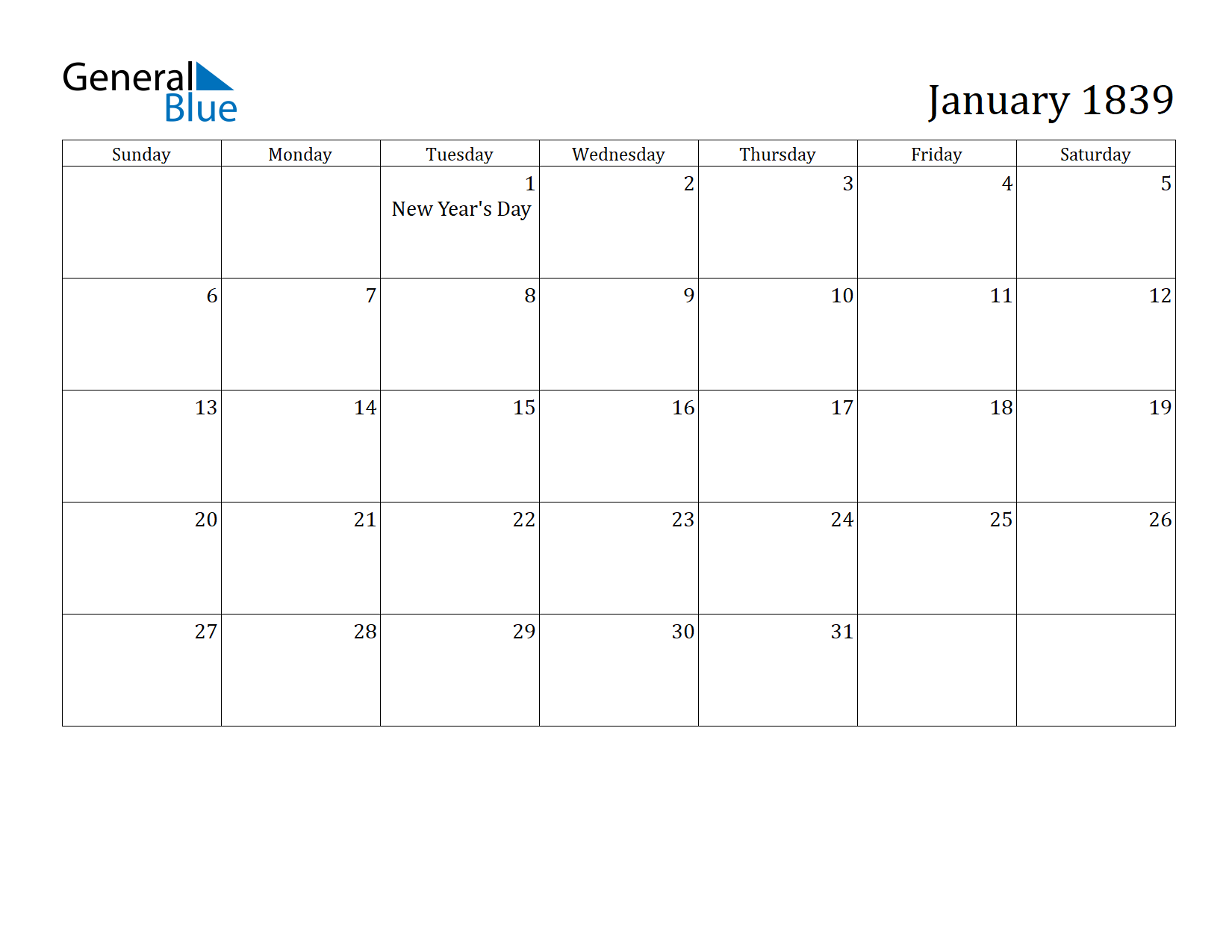 Image of January 1839 Calendar