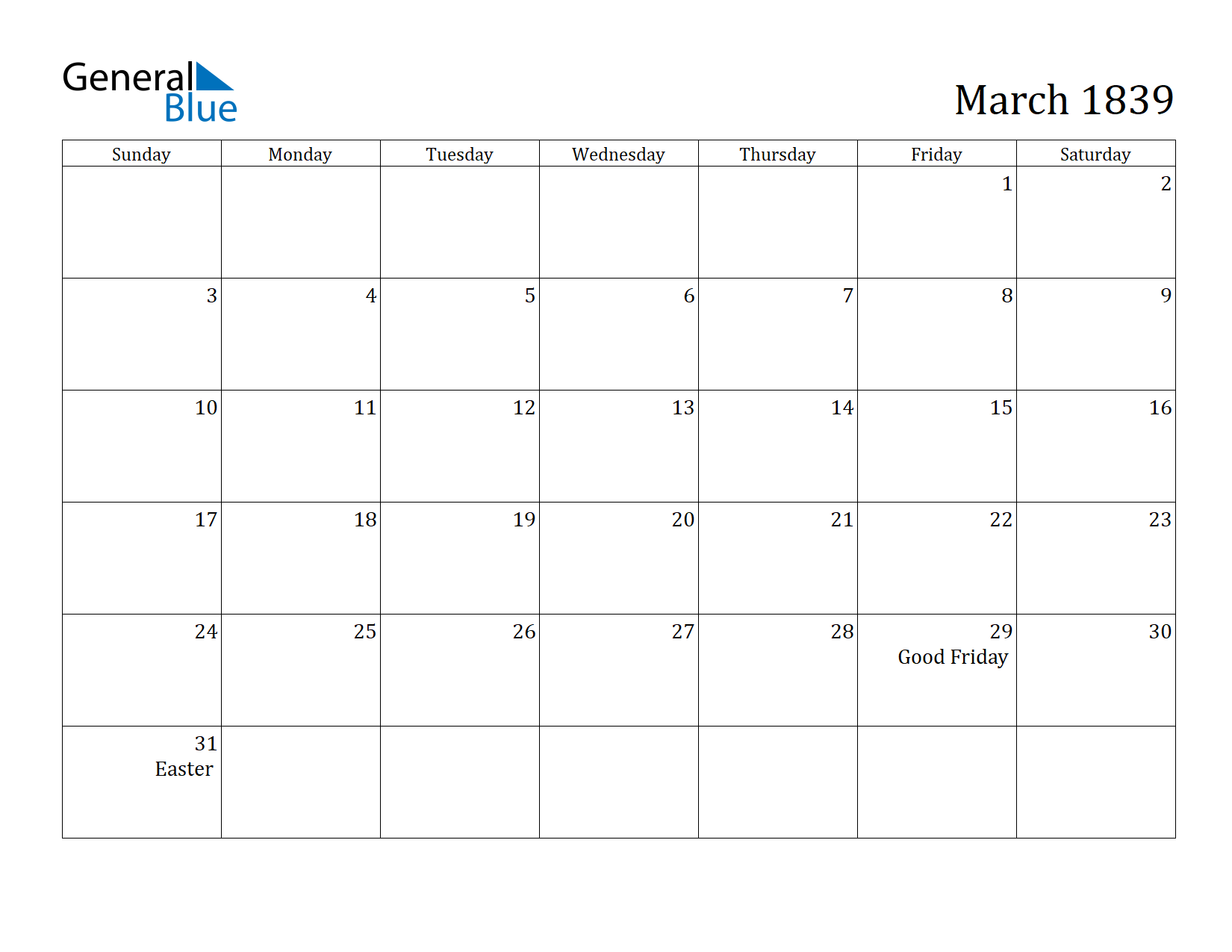 Image of March 1839 Calendar