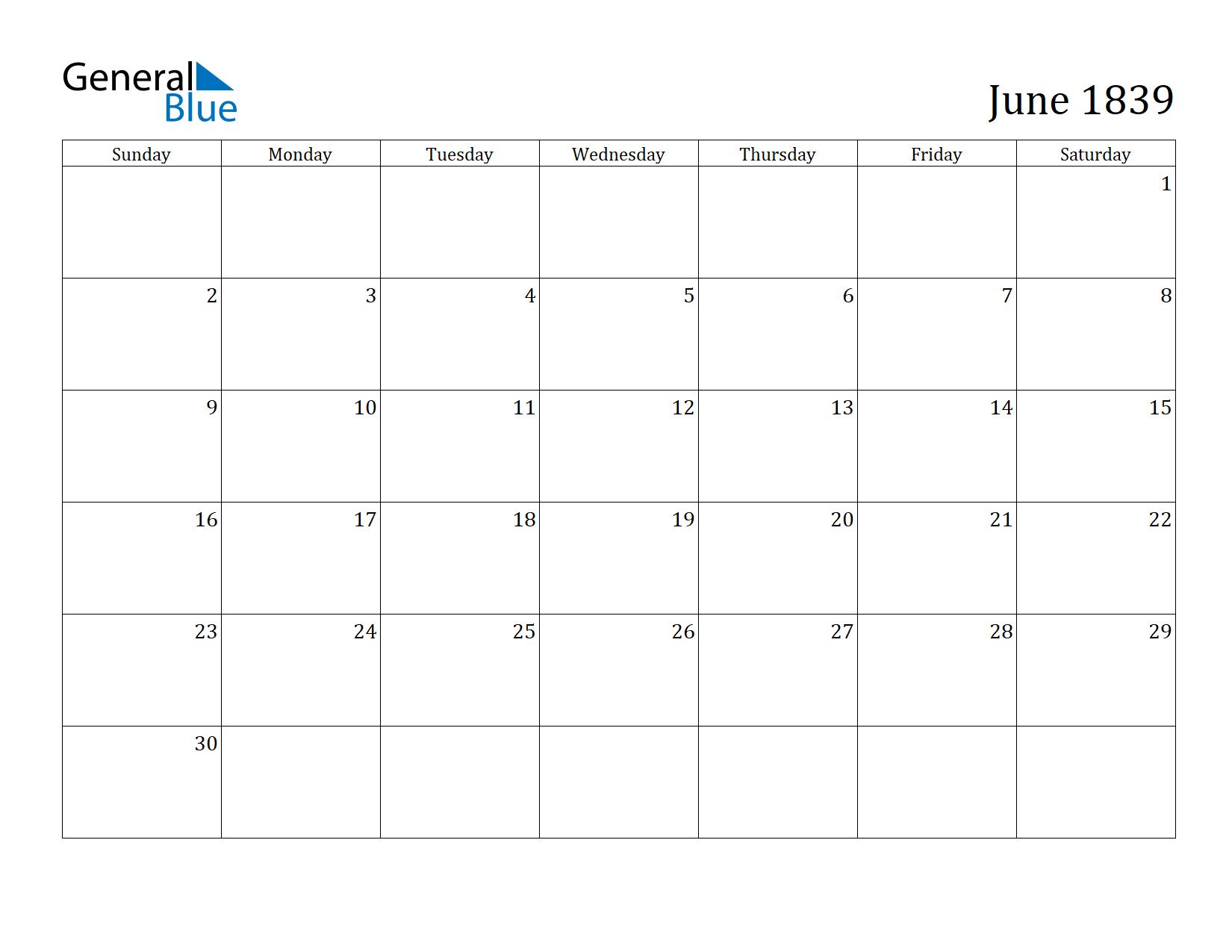 Image of June 1839 Calendar