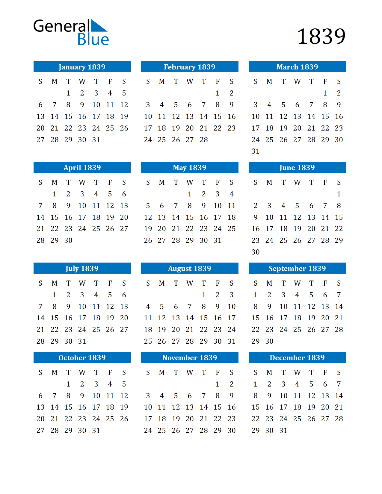 Image of 1839 Calendar