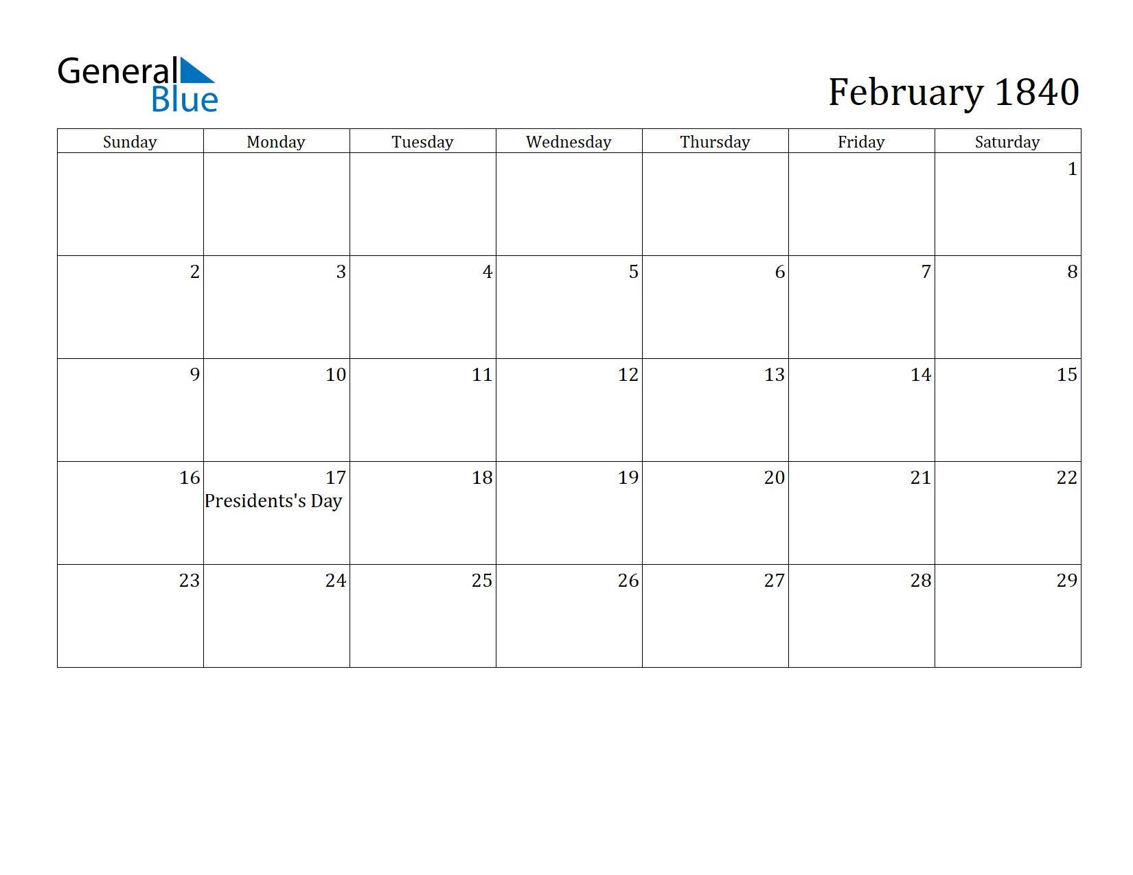 Image of February 1840 Calendar