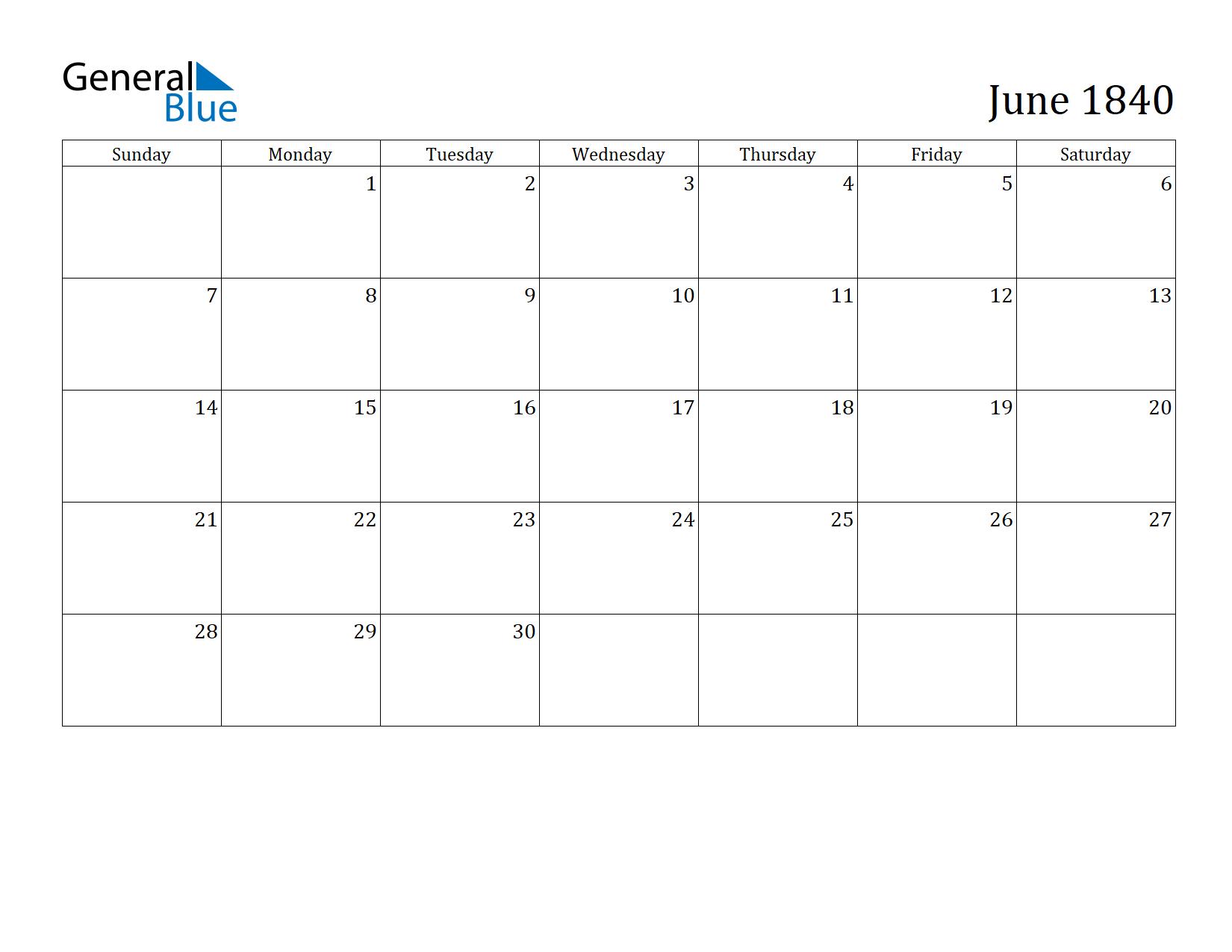 Image of June 1840 Calendar