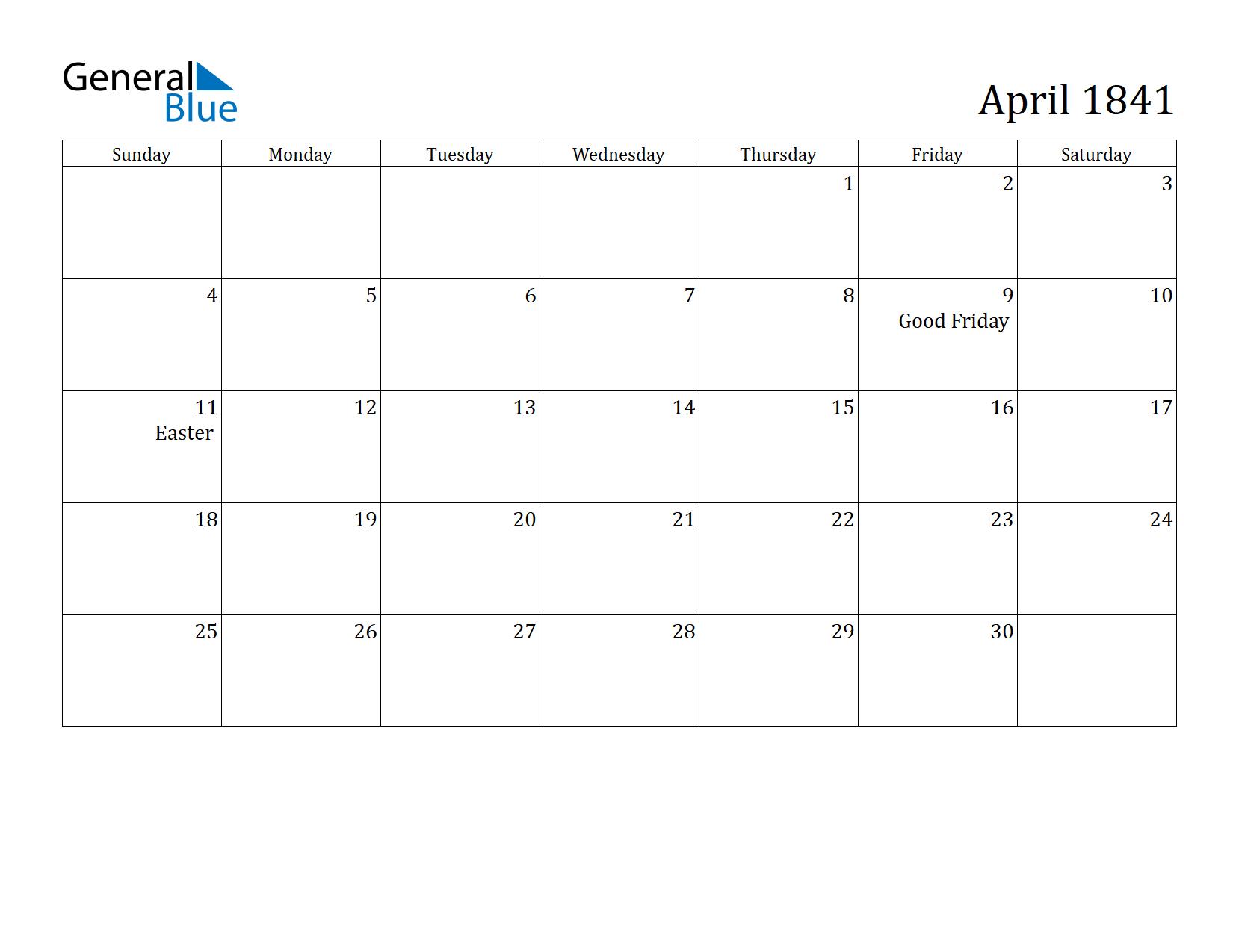 Image of April 1841 Calendar