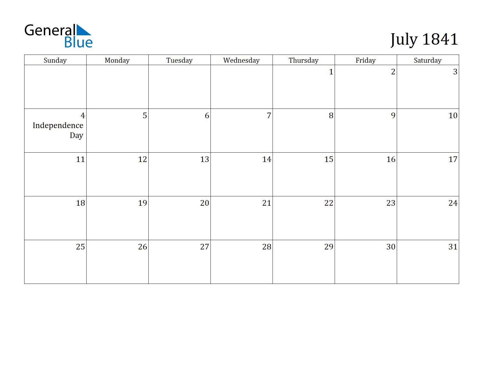 Image of July 1841 Calendar
