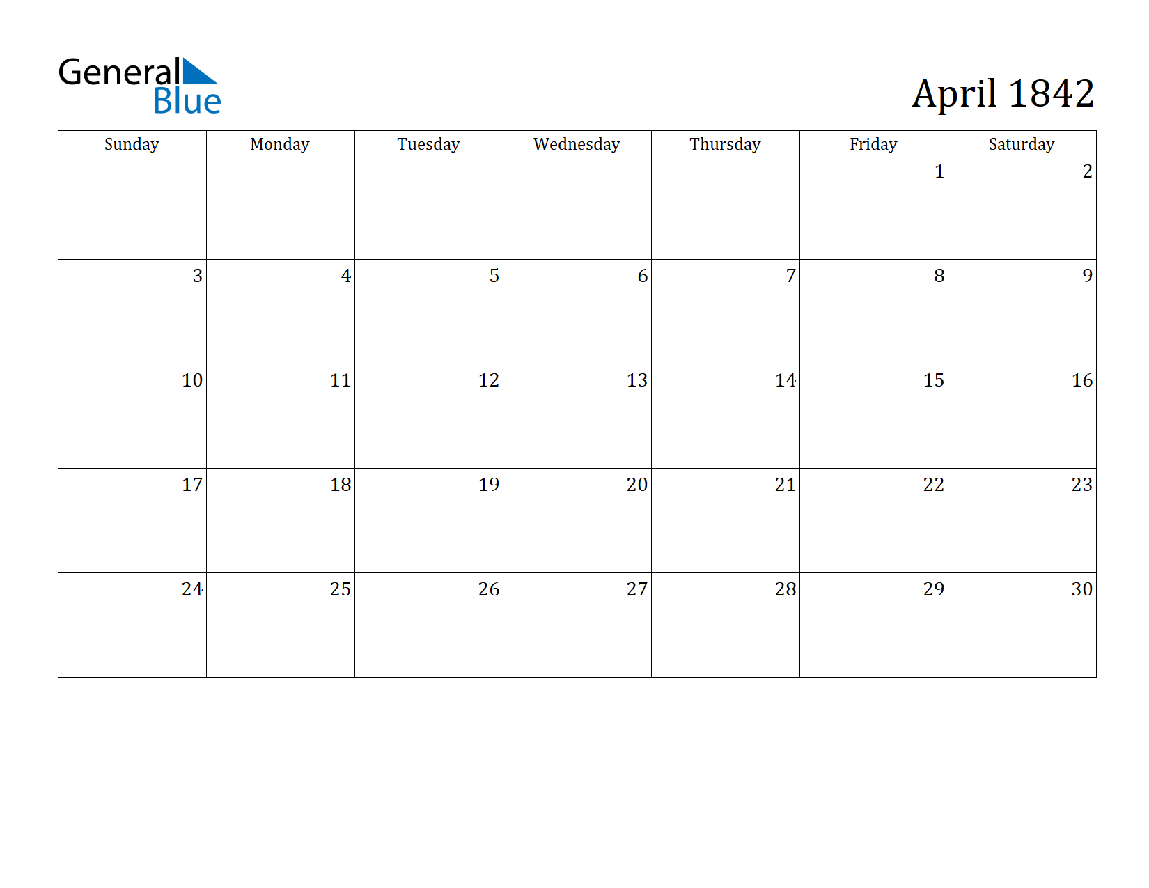 Image of April 1842 Calendar