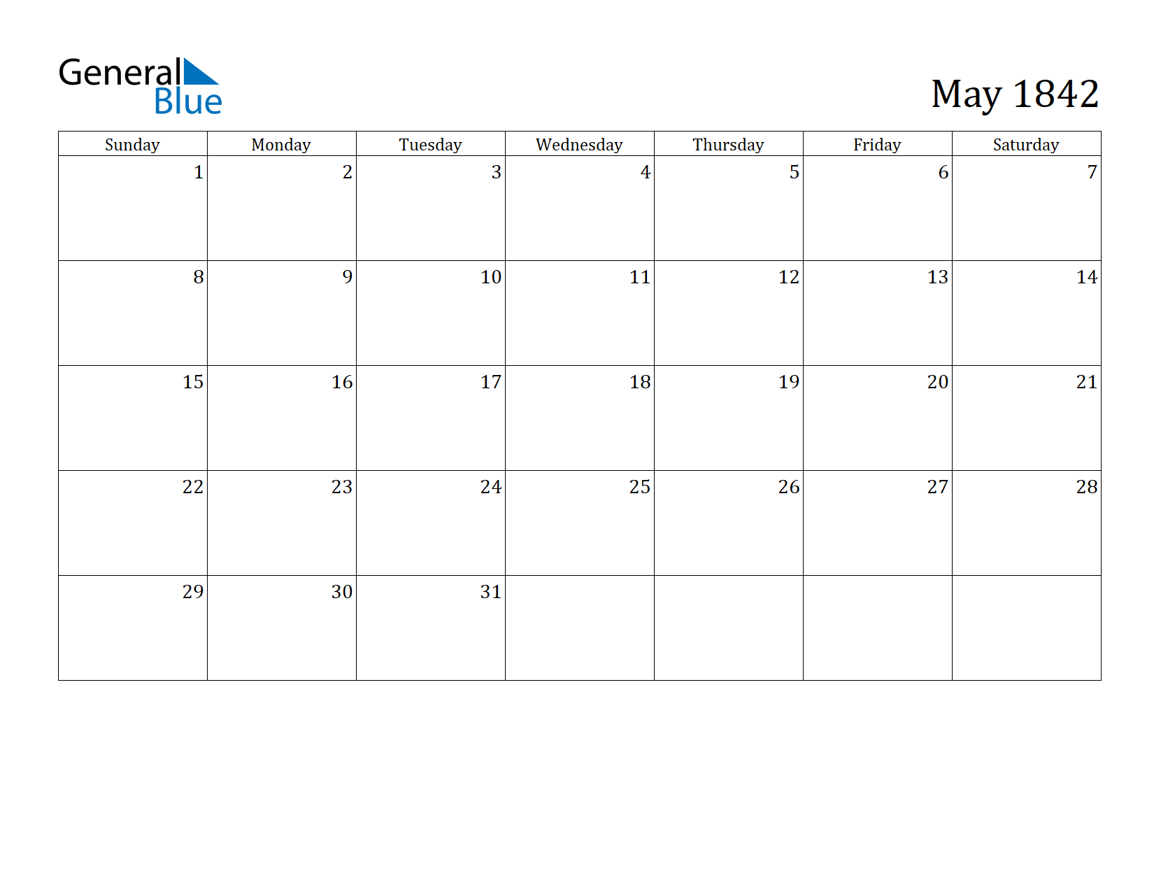 Image of May 1842 Calendar