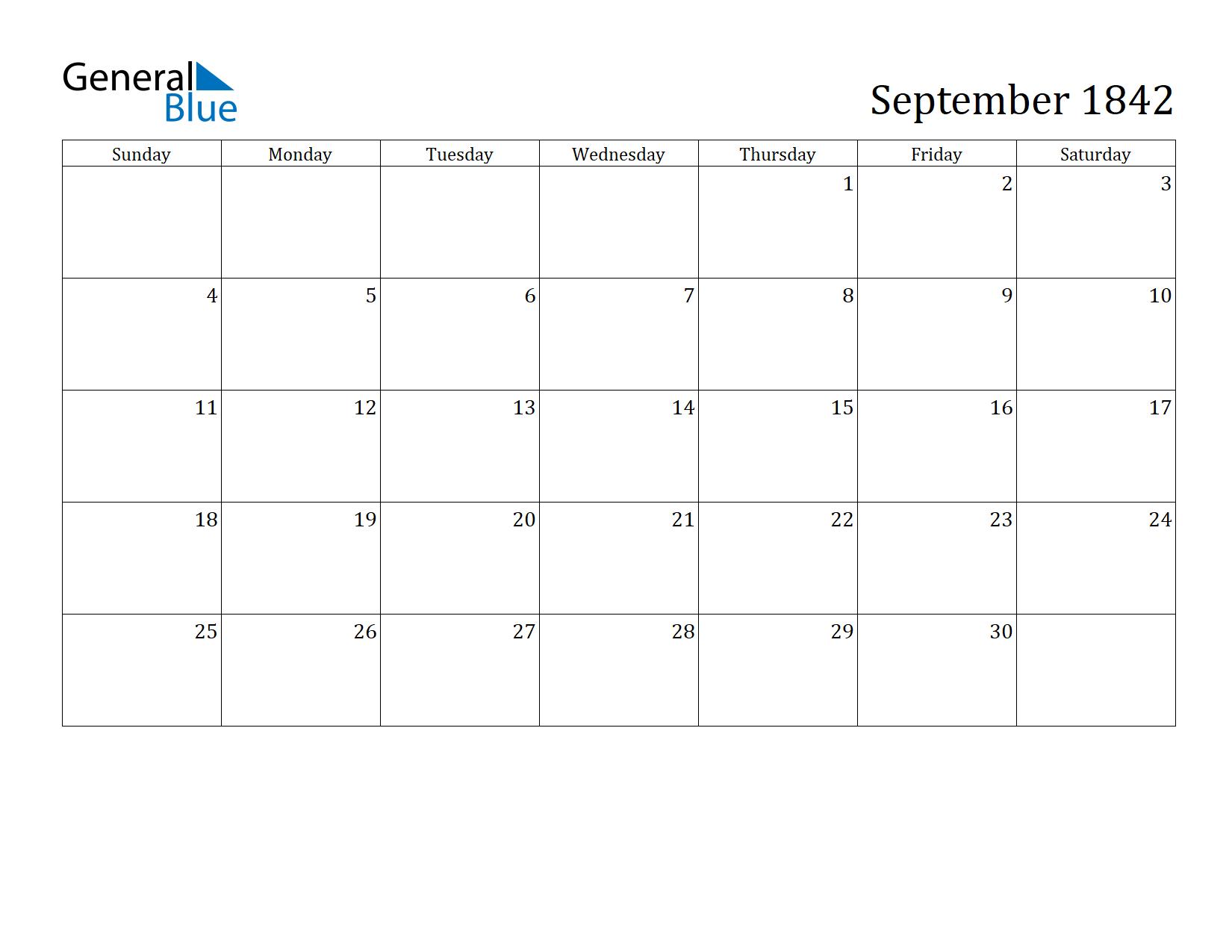 Image of September 1842 Calendar