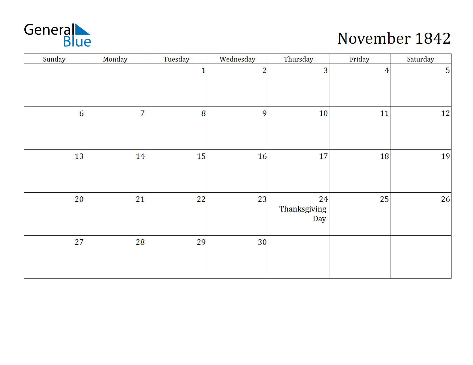 Image of November 1842 Calendar