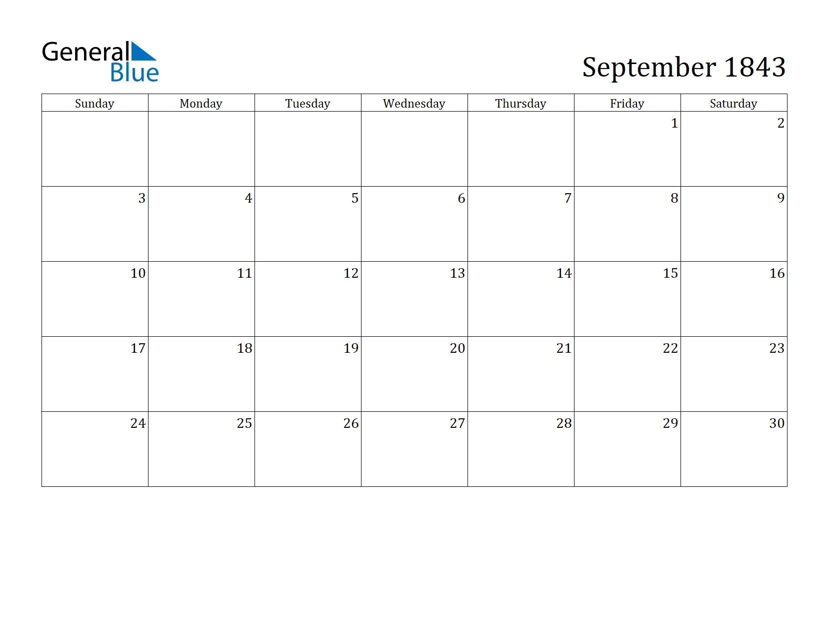 Image of September 1843 Calendar