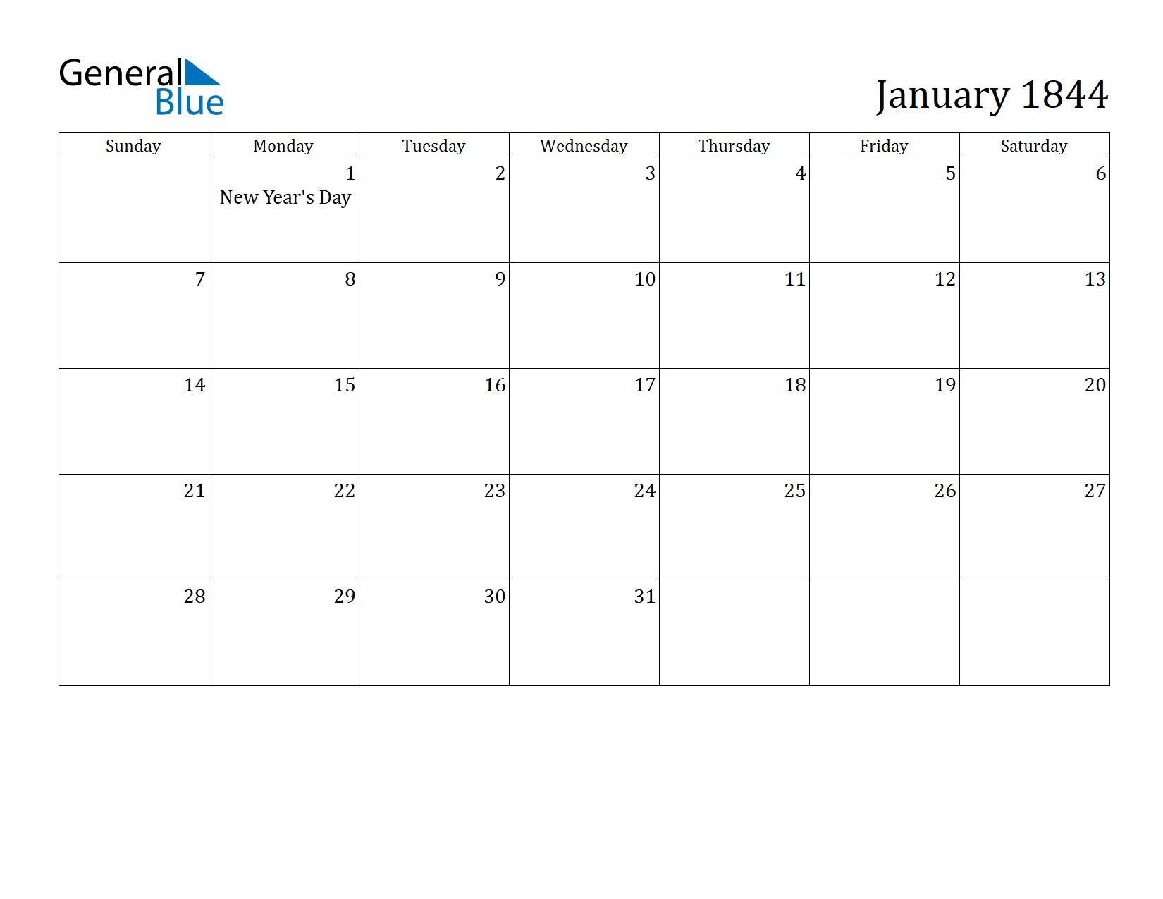 Image of January 1844 Calendar