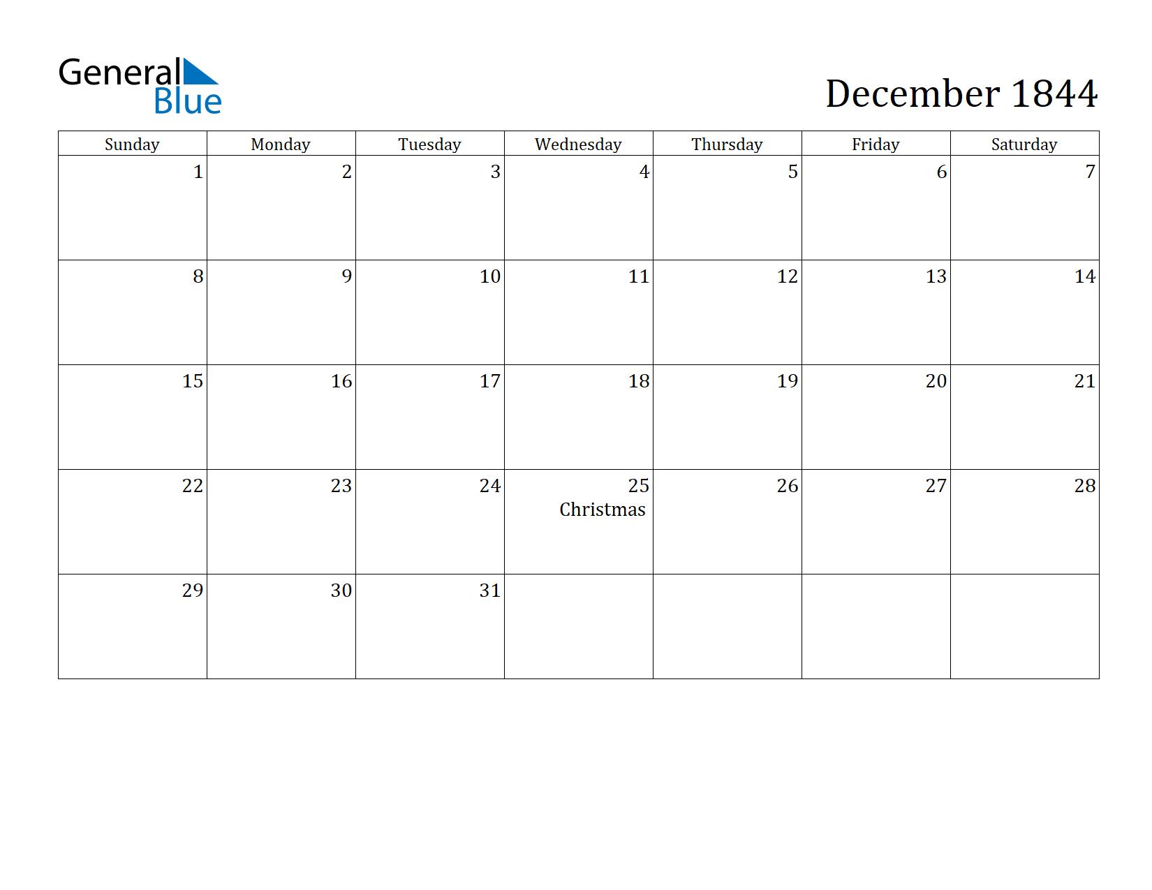 Image of December 1844 Calendar