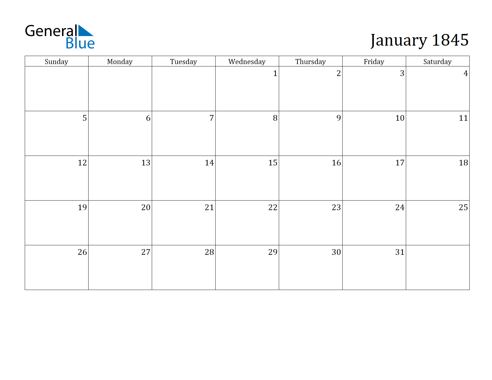 Image of January 1845 Calendar