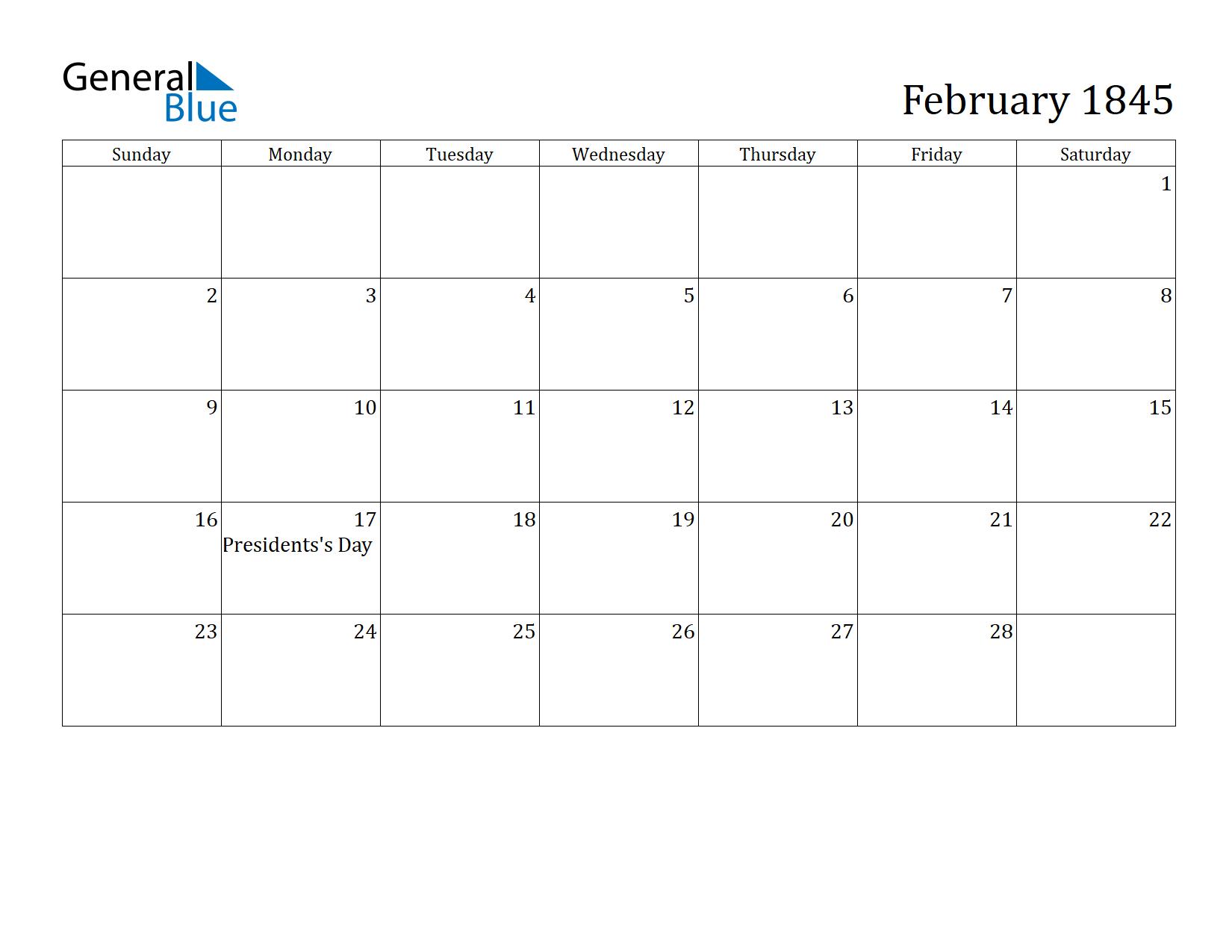 Image of February 1845 Calendar
