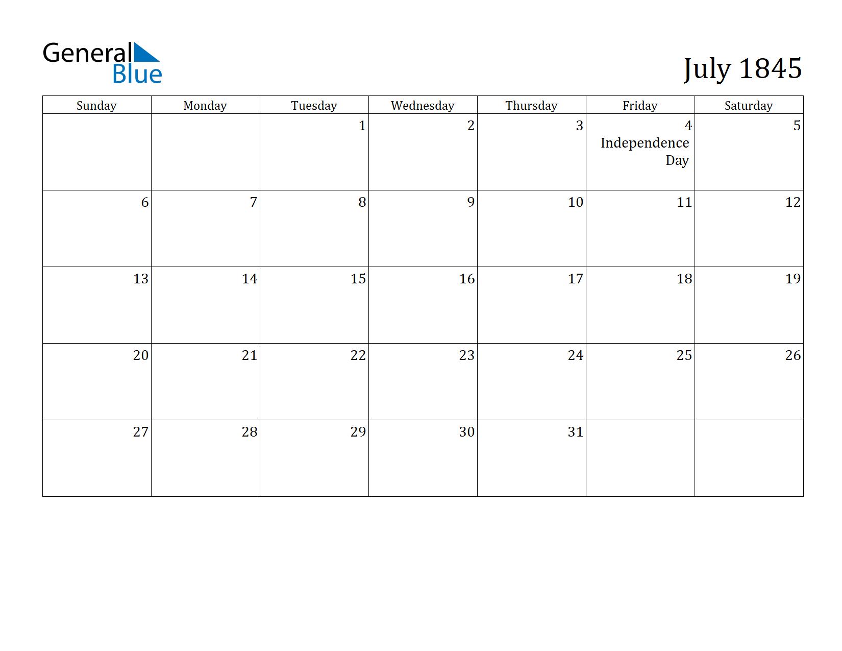 Image of July 1845 Calendar