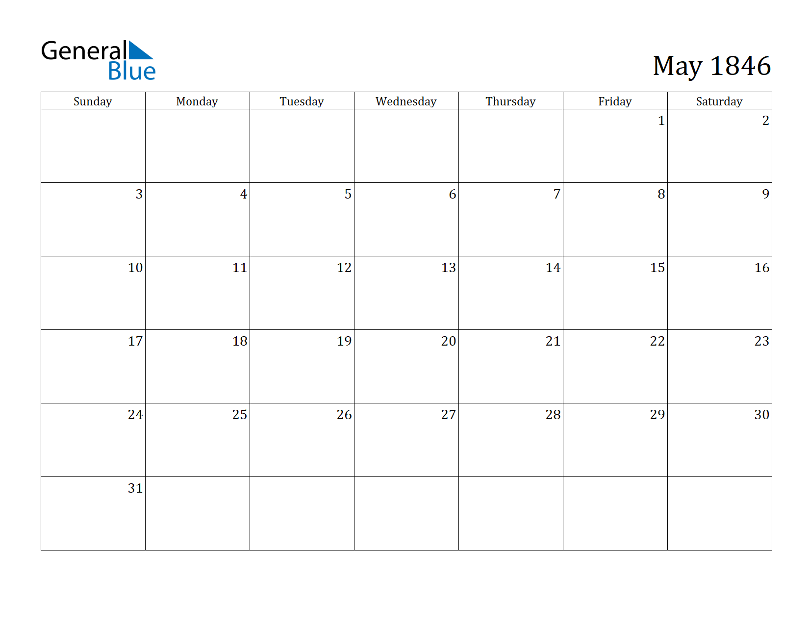 Image of May 1846 Calendar