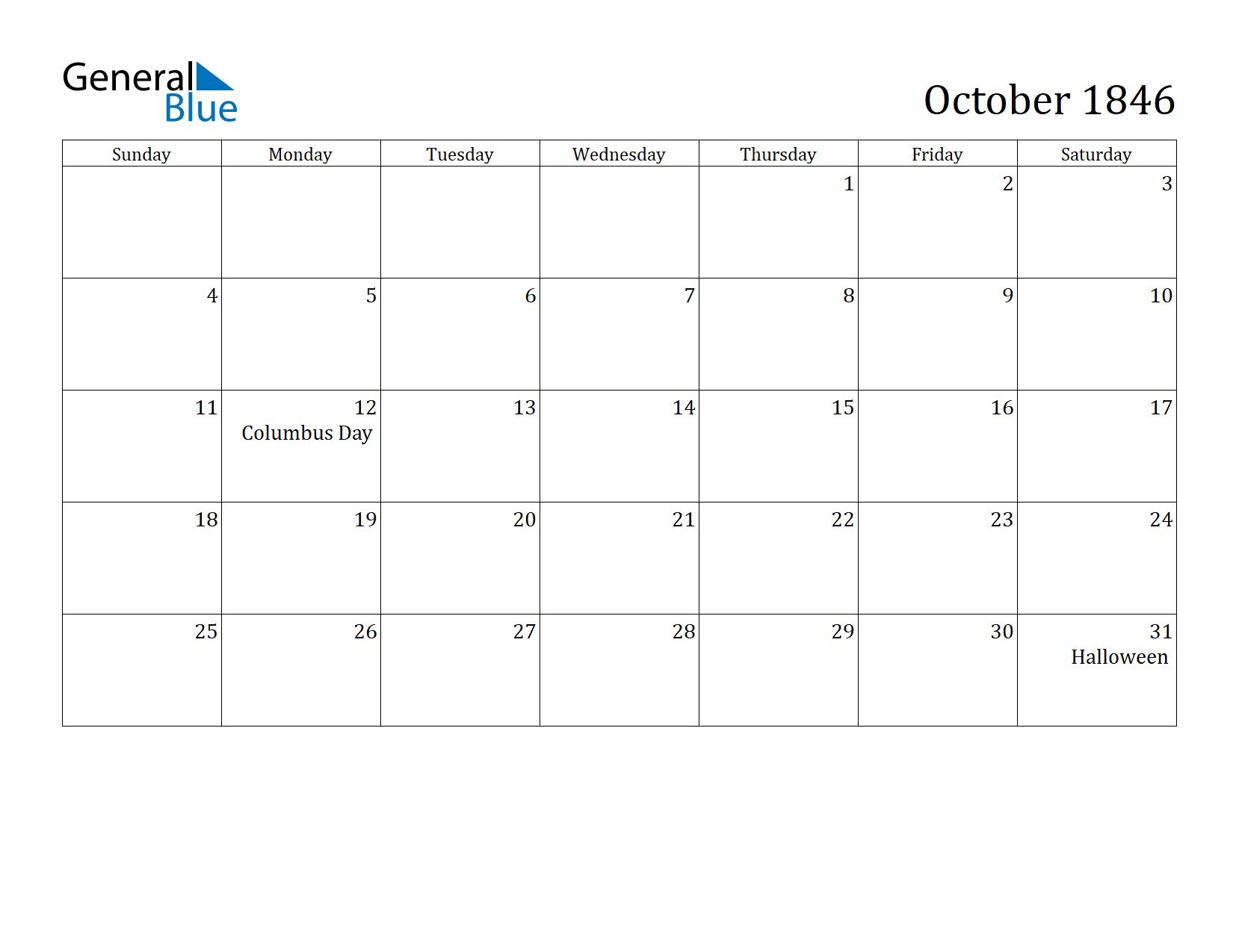 Image of October 1846 Calendar