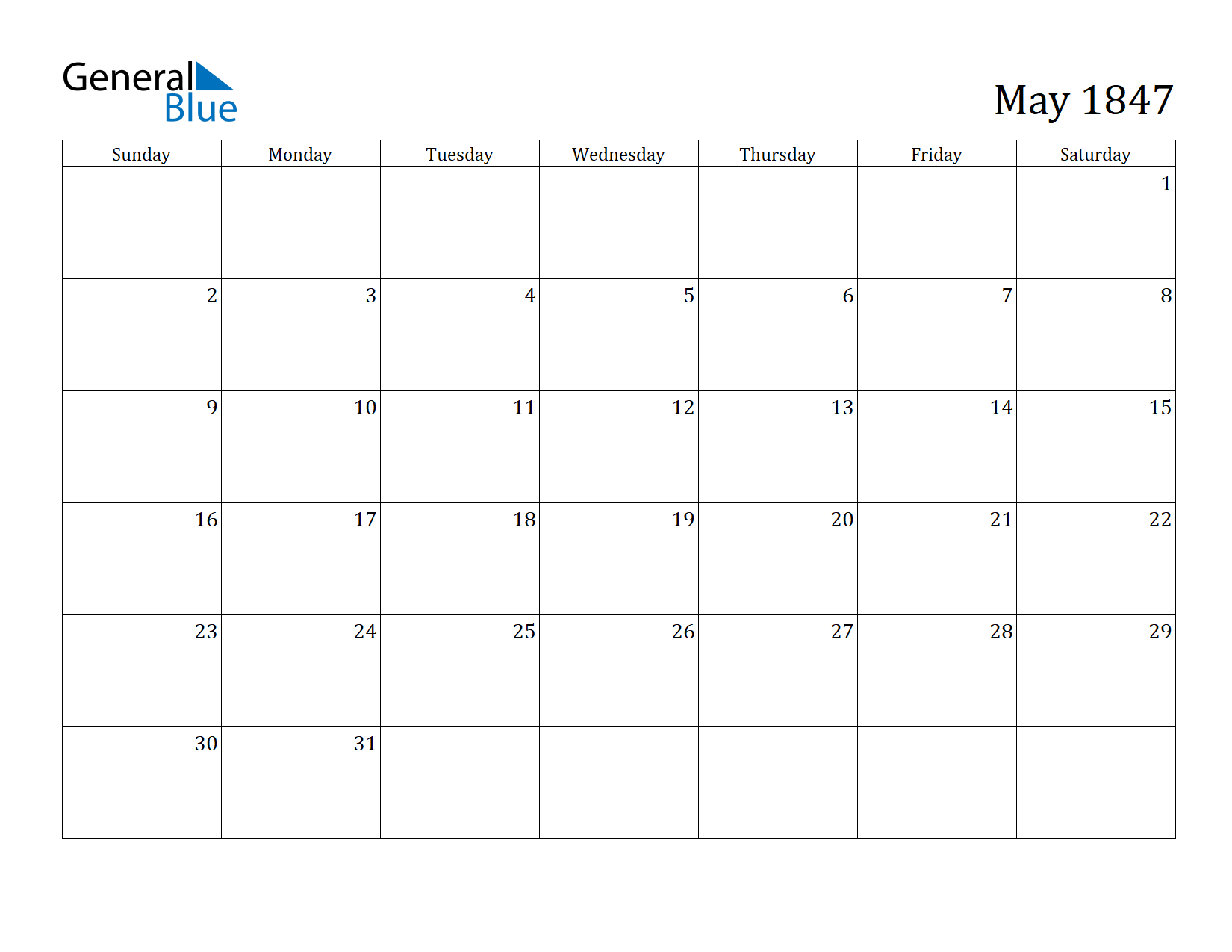 Image of May 1847 Calendar