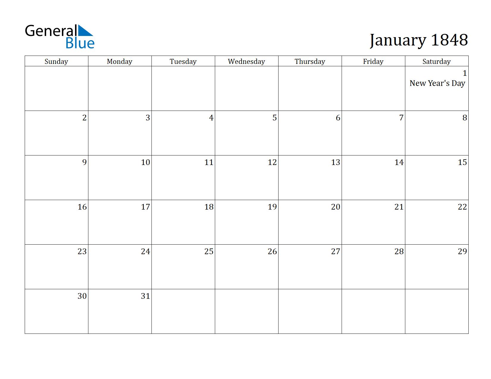 Image of January 1848 Calendar