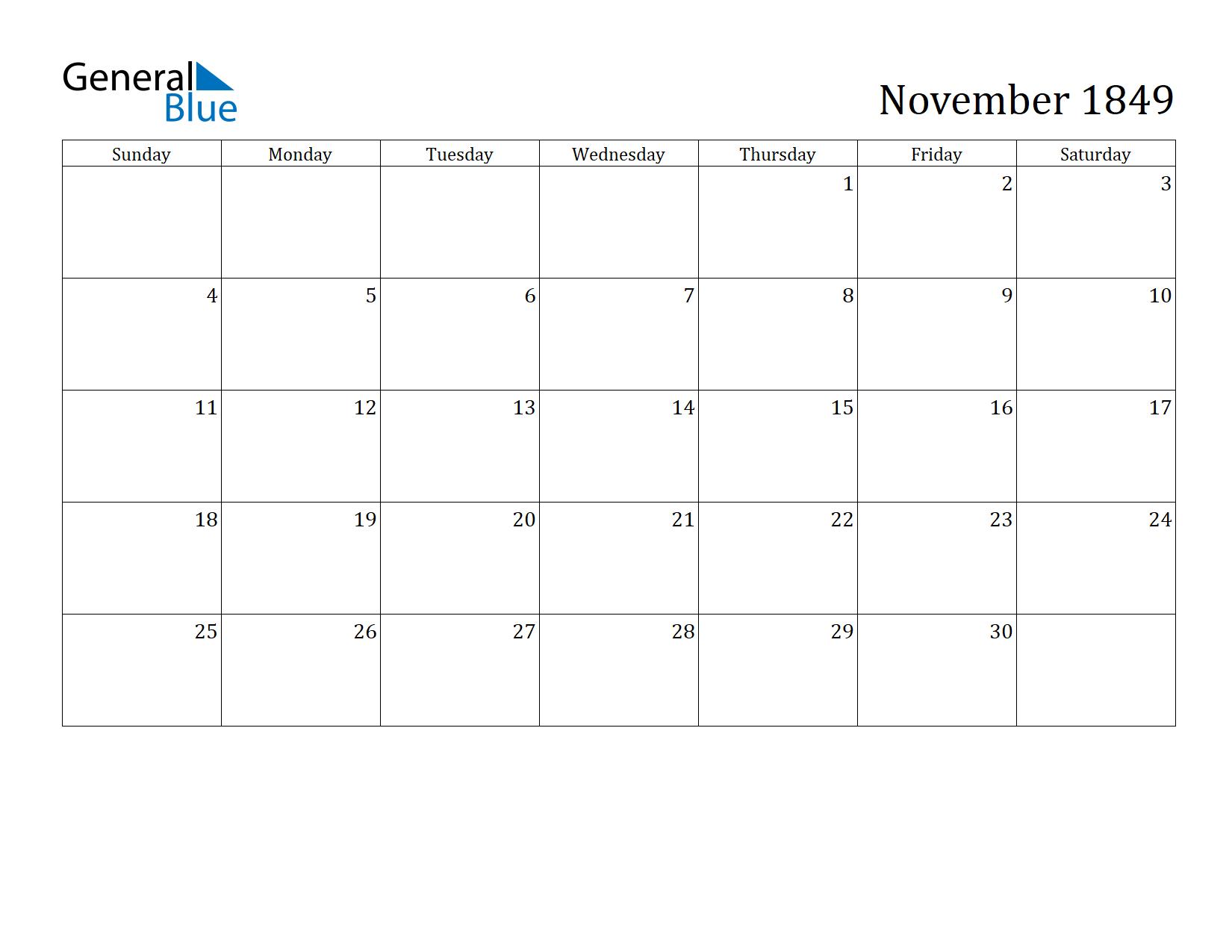 Image of November 1849 Calendar