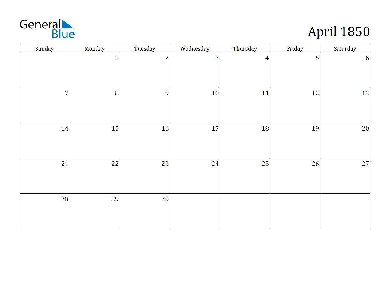 Image of April 1850 Calendar