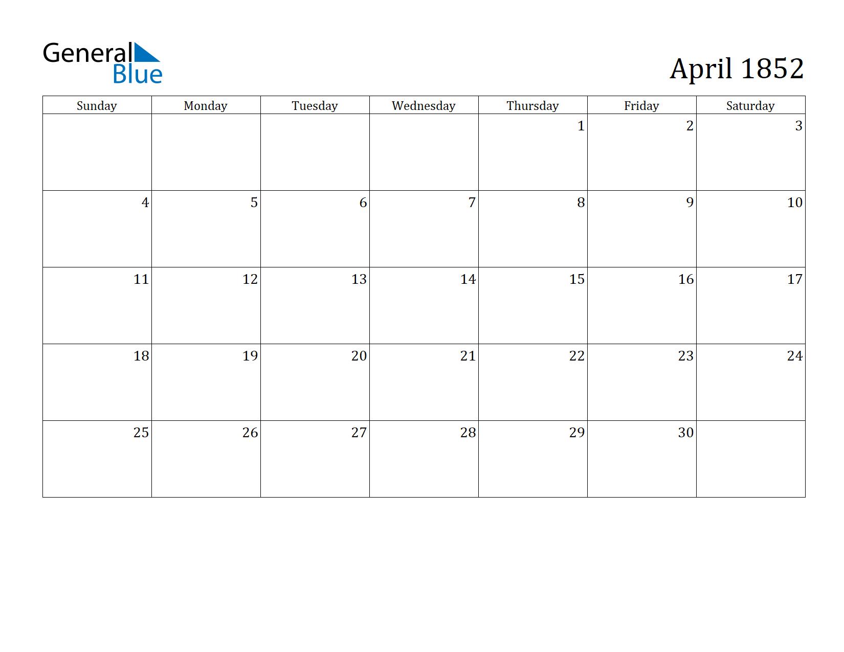 Image of April 1852 Calendar