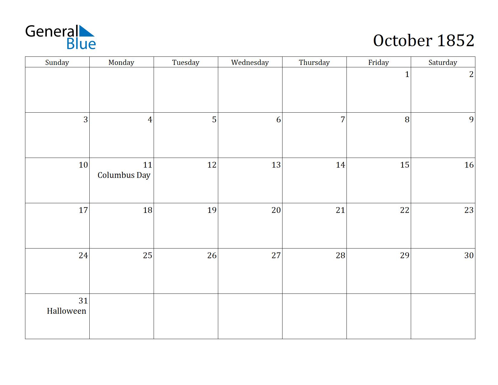 Image of October 1852 Calendar