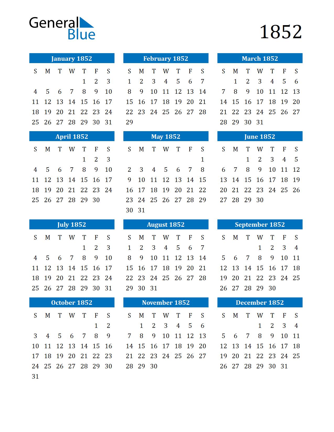 Image of 1852 Calendar