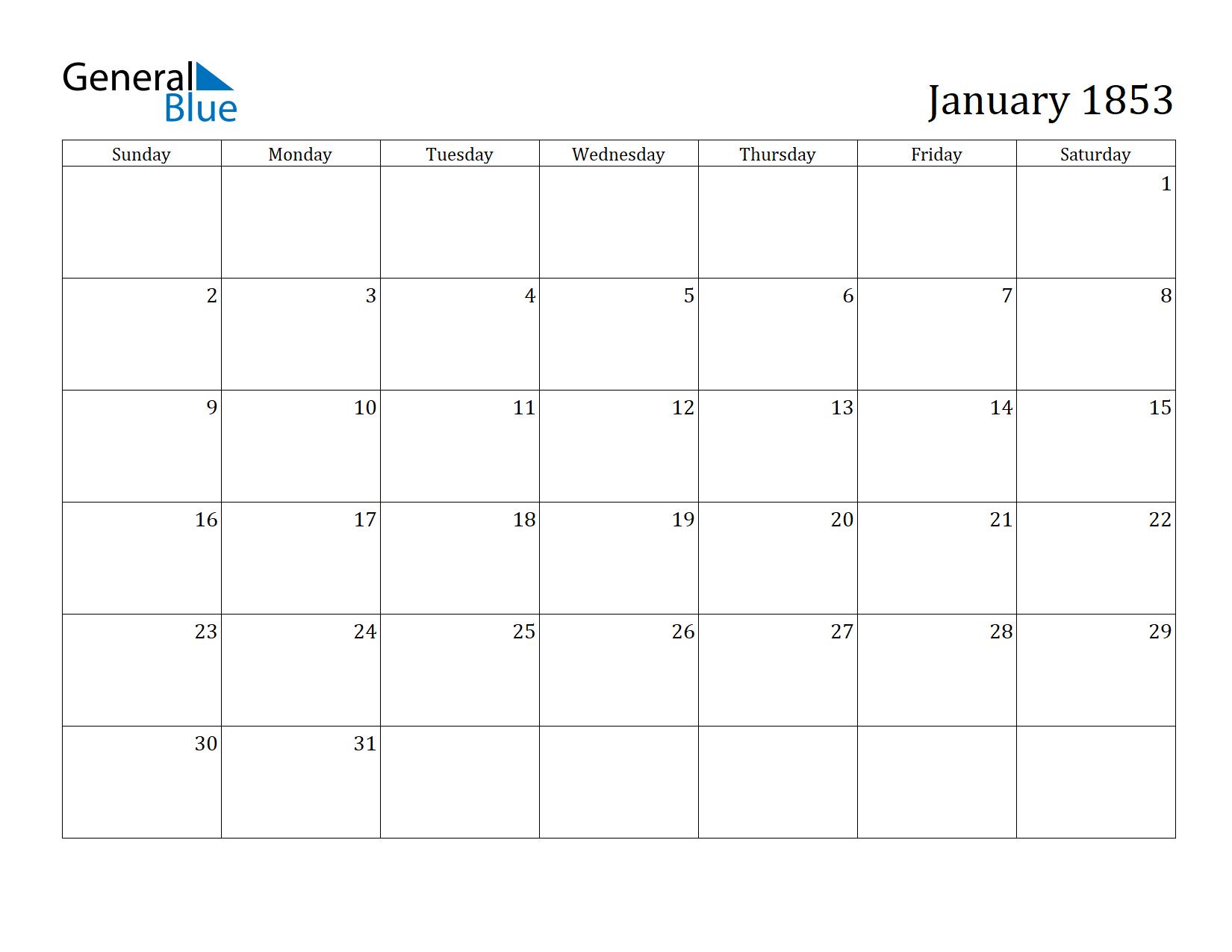 Image of January 1853 Calendar