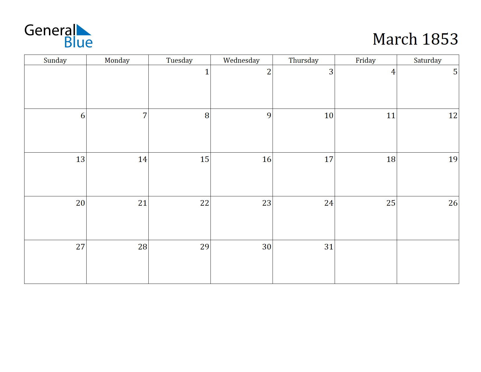 Image of March 1853 Calendar