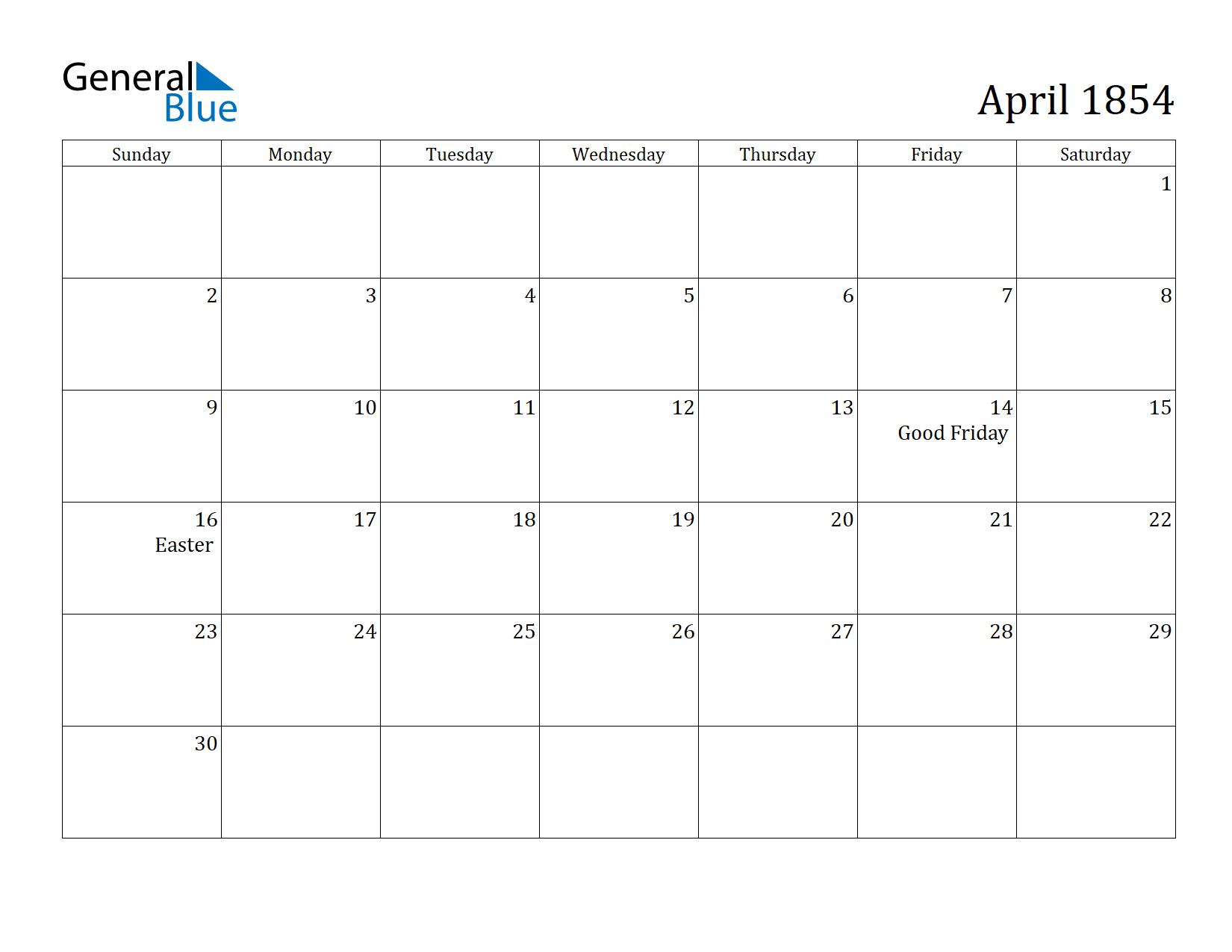 Image of April 1854 Calendar