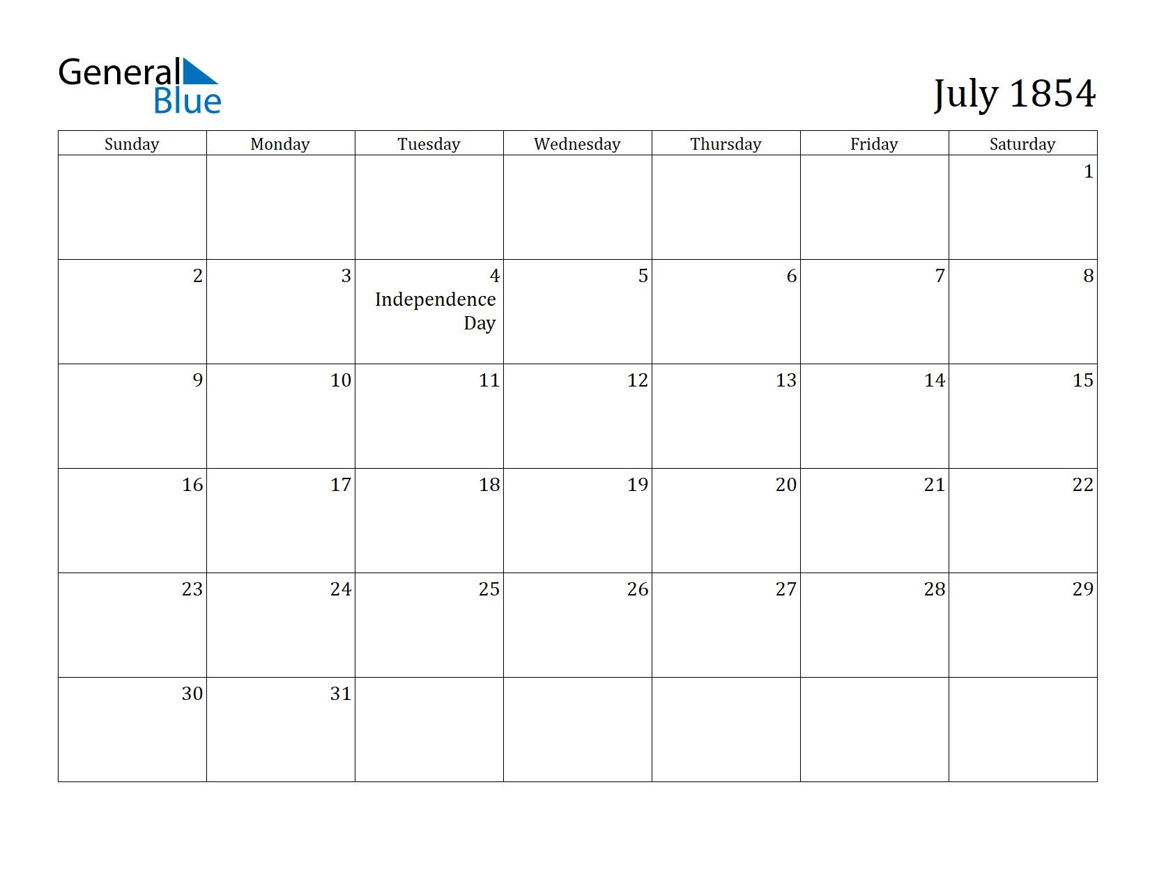 Image of July 1854 Calendar